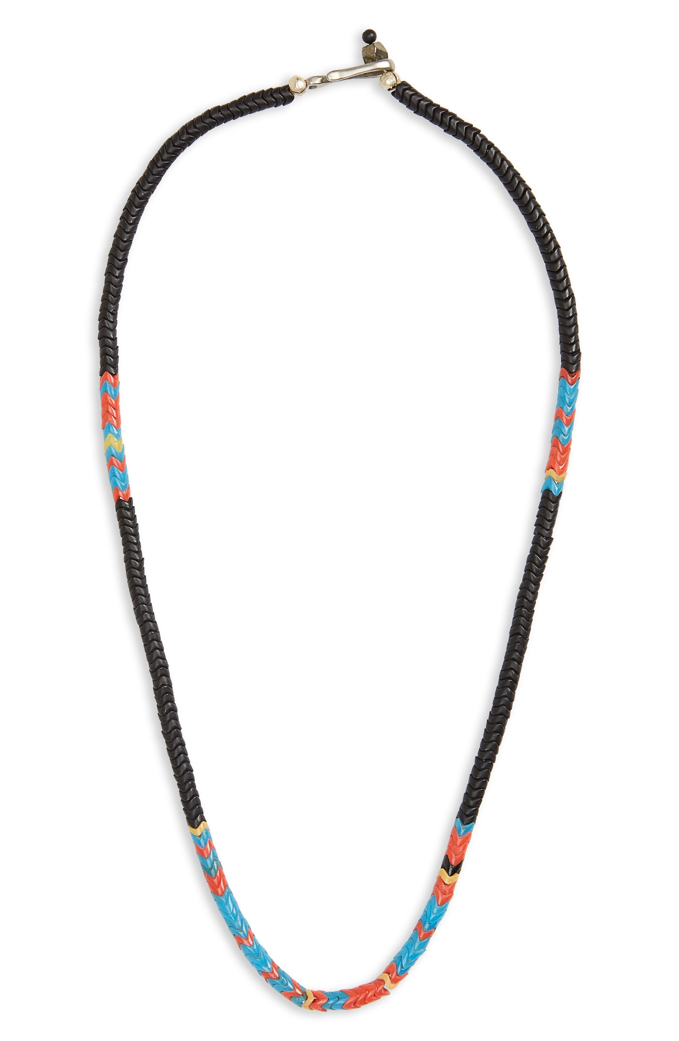 Stone Bead Necklace,                         Main,                         color, BLUE/ BLACK