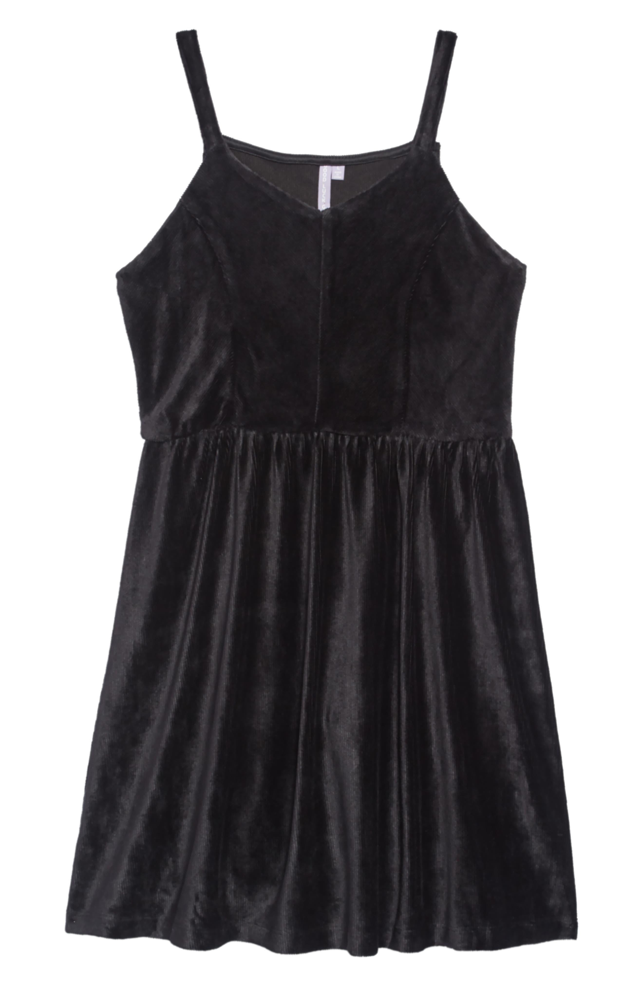 Velour Cord Dress,                         Main,                         color, BLACK