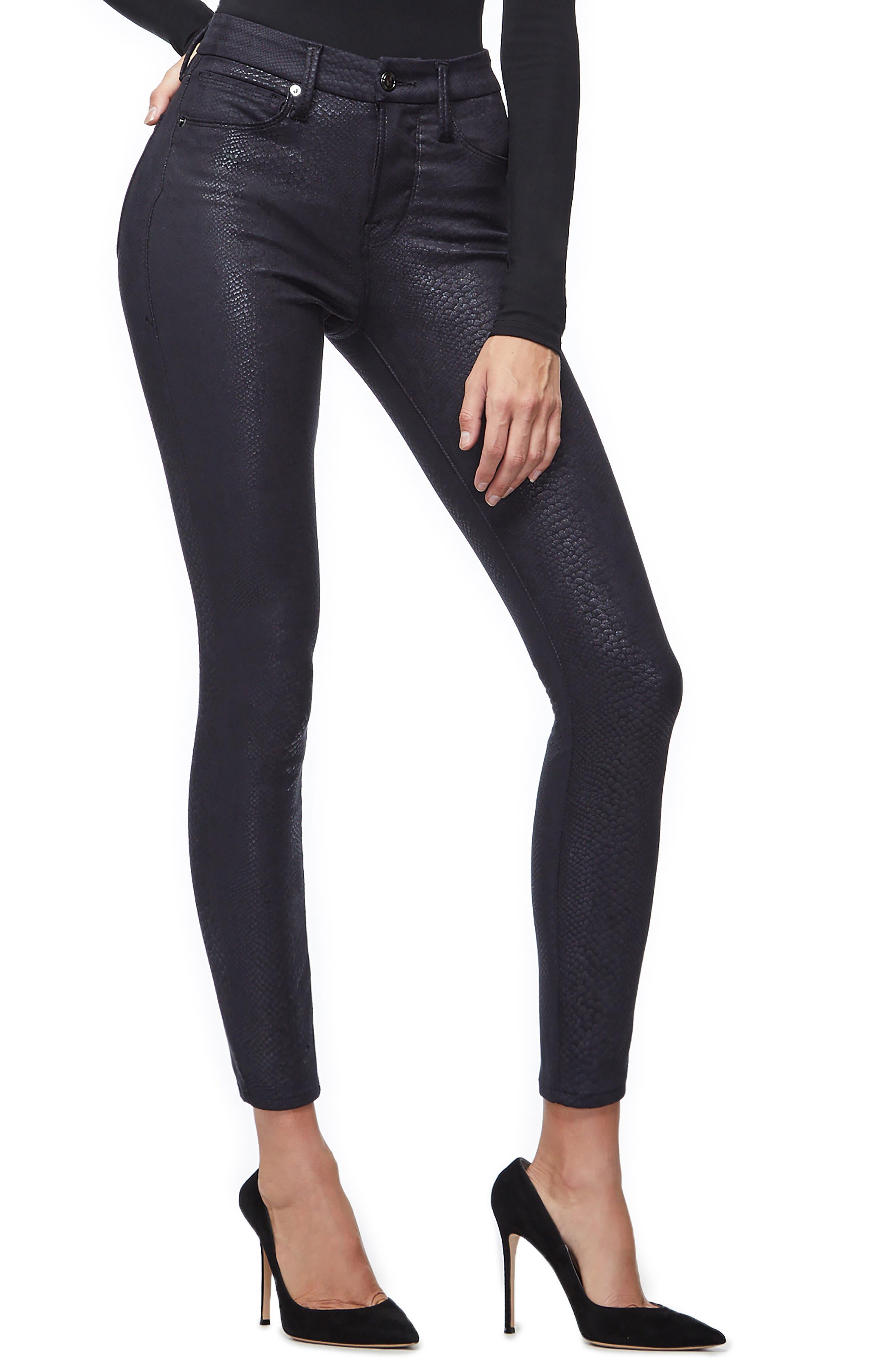 GOOD AMERICAN,                             Good Legs Metallic Snake Print Skinny Jeans,                             Alternate thumbnail 5, color,                             BLACK041