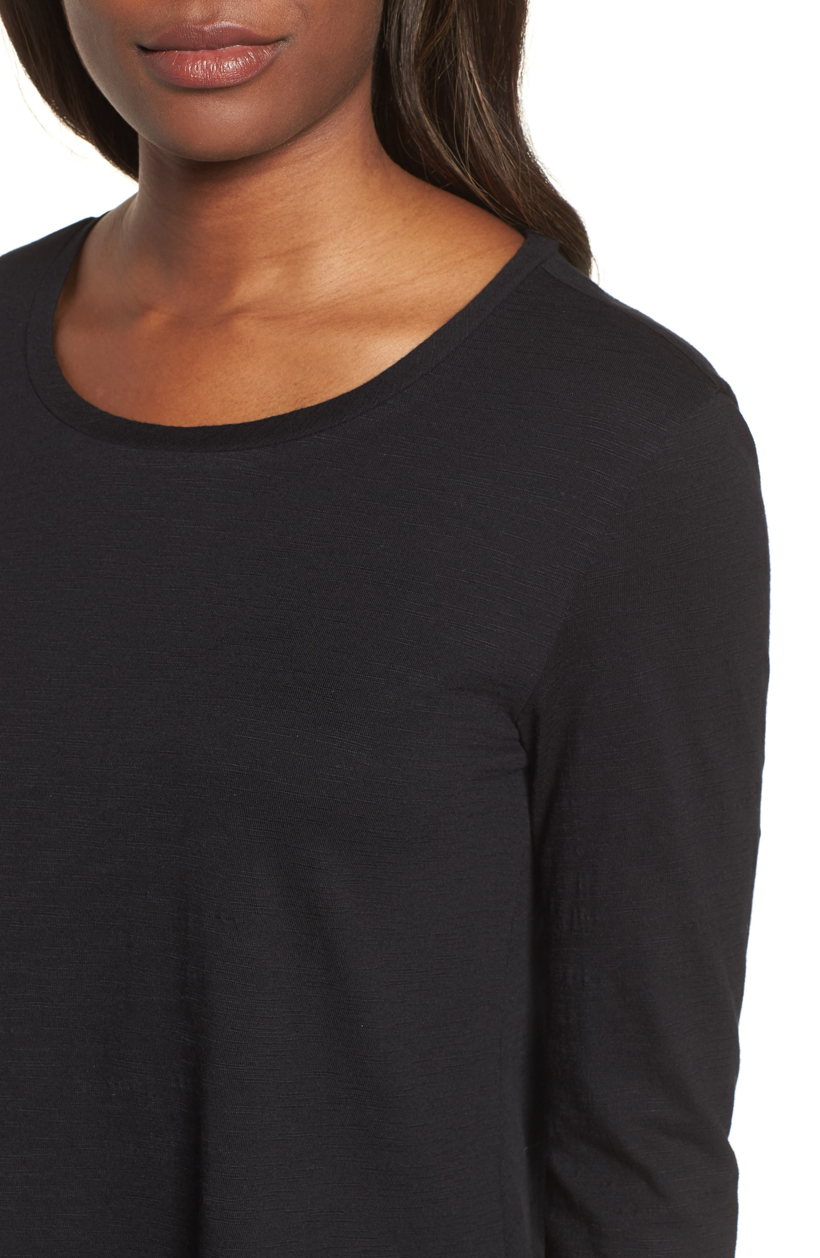 Tiered Long Sleeve Tee,                             Alternate thumbnail 4, color,                             001