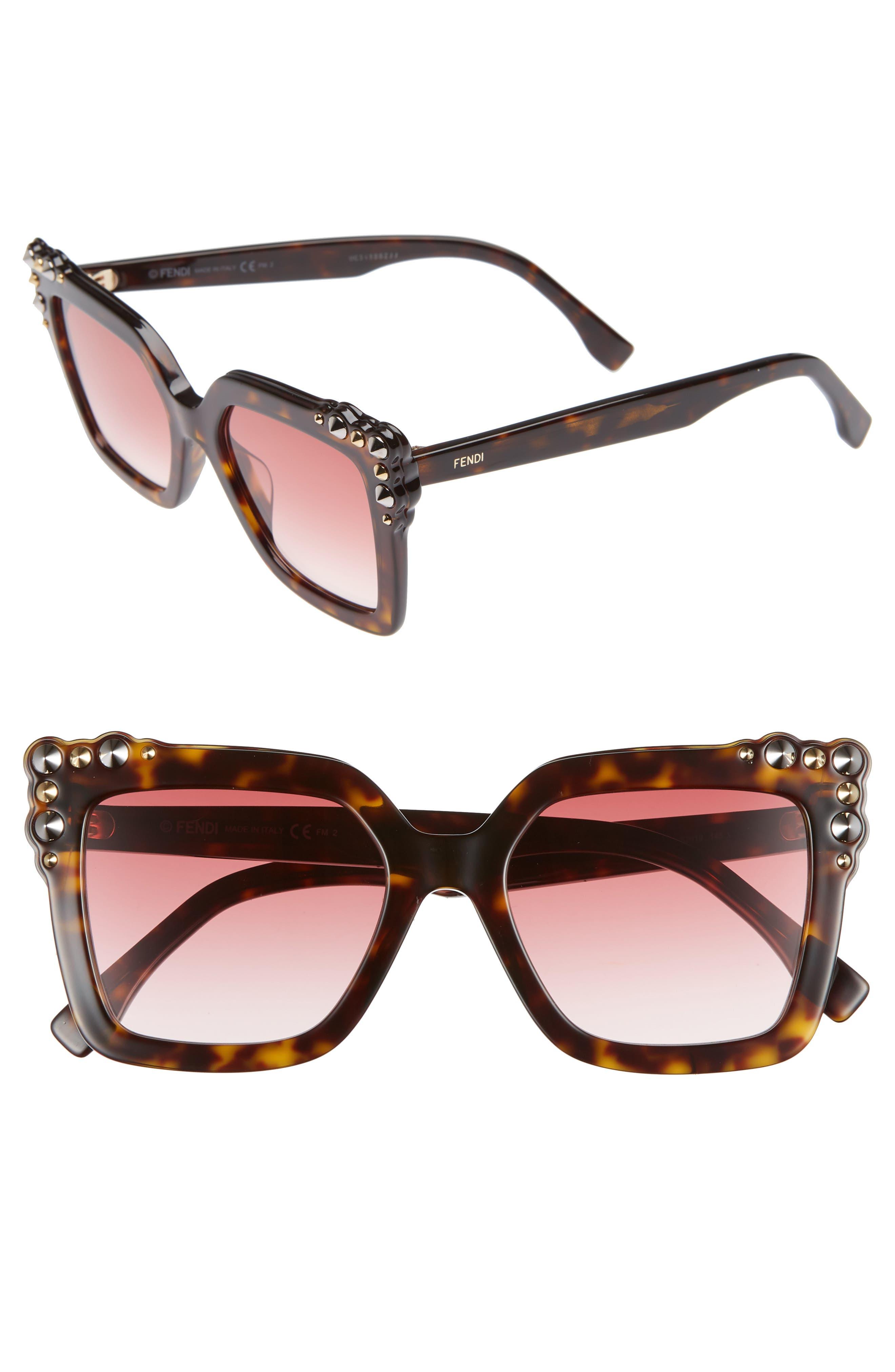 52mm Gradient Cat Eye Sunglasses,                         Main,                         color, DARK HAVANA