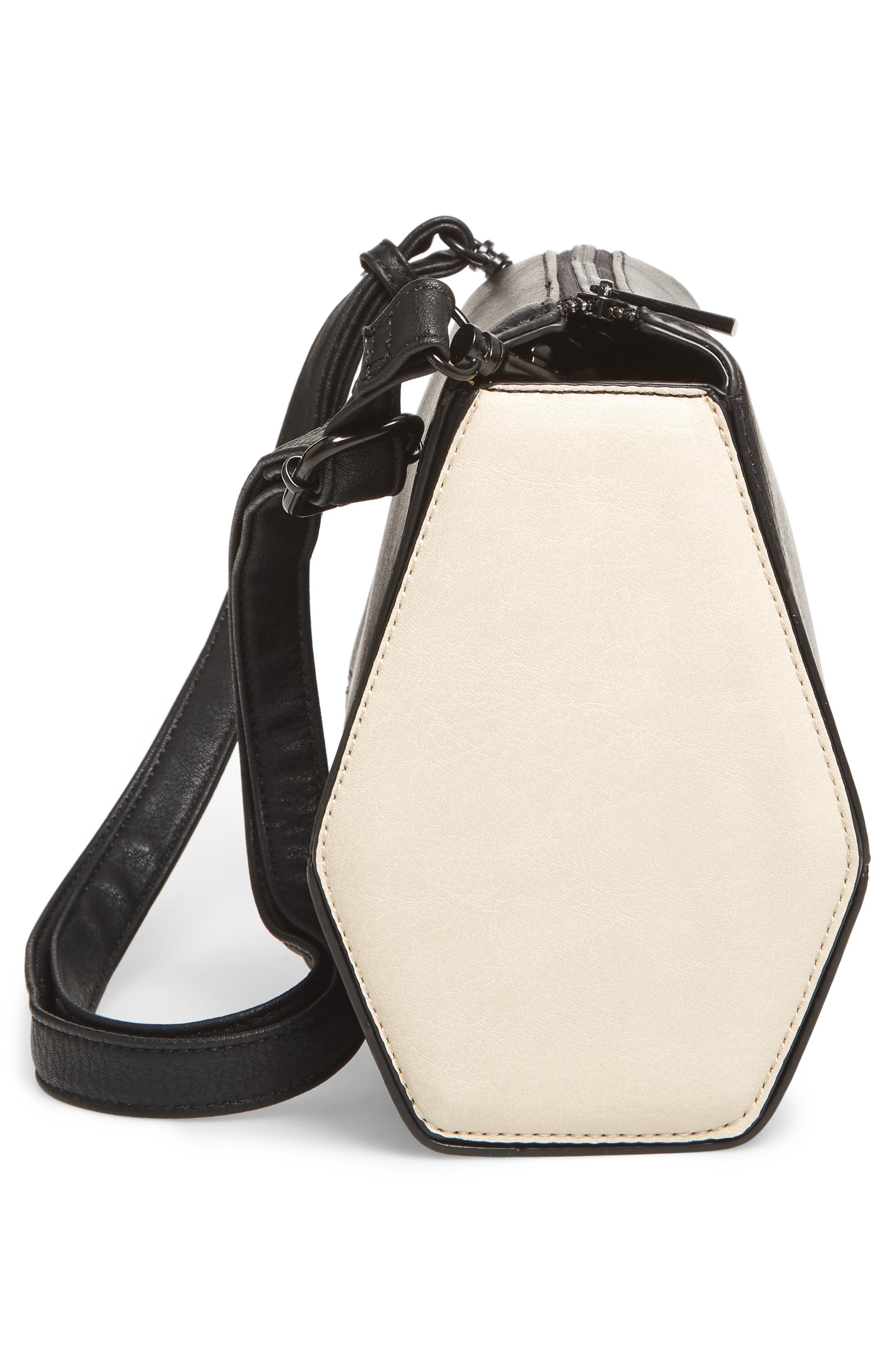 Faux Leather Crossbody Bag,                             Alternate thumbnail 5, color,                             001