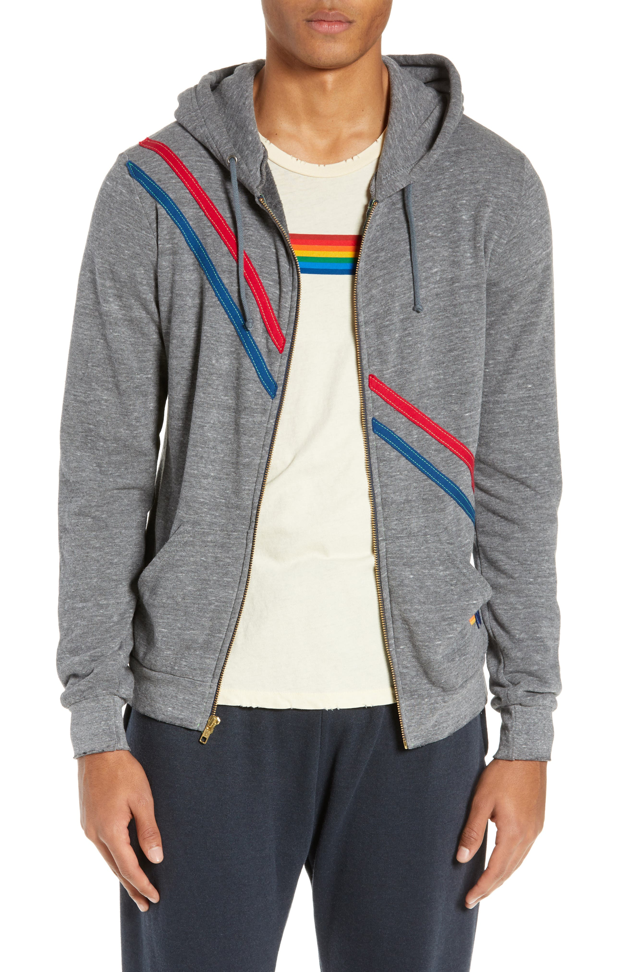 AVIATOR NATION Pray For Surf Zip Hoodie in Heather Grey