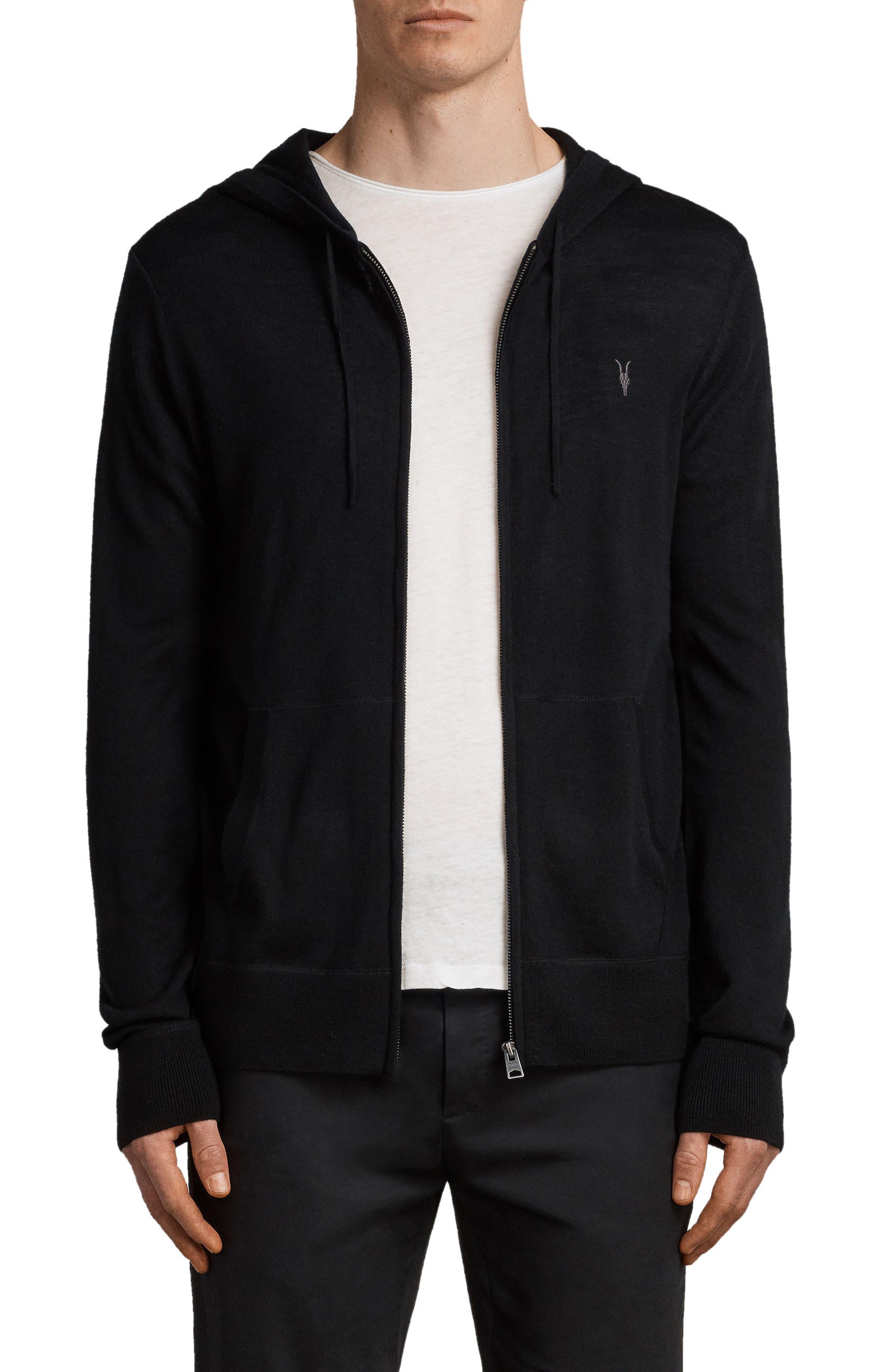Mode Slim Fit Merino Wool Zip Hoodie,                         Main,                         color, BLACK