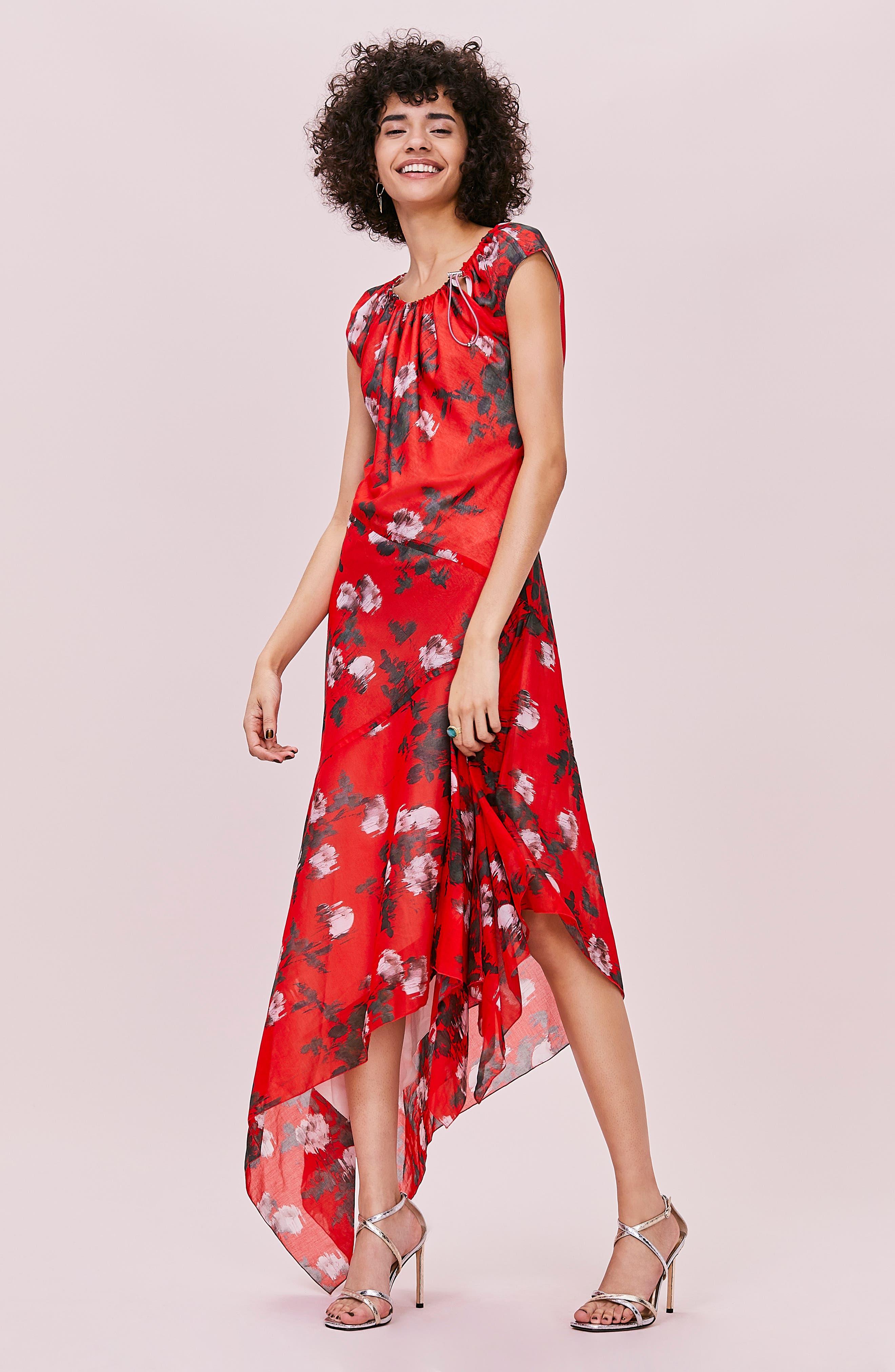 HUGO,                             Kefesha Asymmetrical Midi Dress,                             Alternate thumbnail 8, color,                             RED