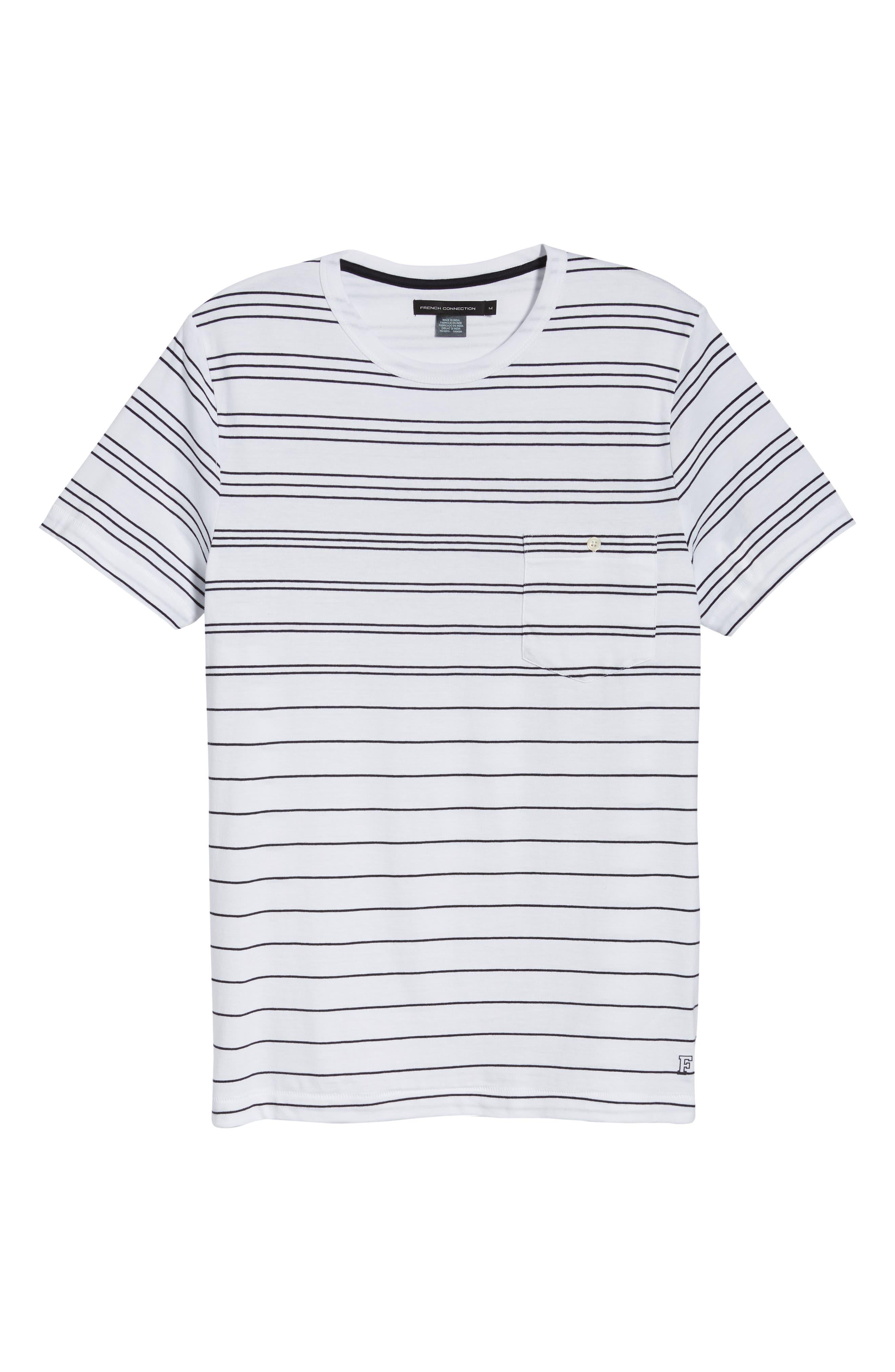 Summer Graded Stripe Pocket T-Shirt,                             Alternate thumbnail 6, color,                             WHITE MARINE BLUE