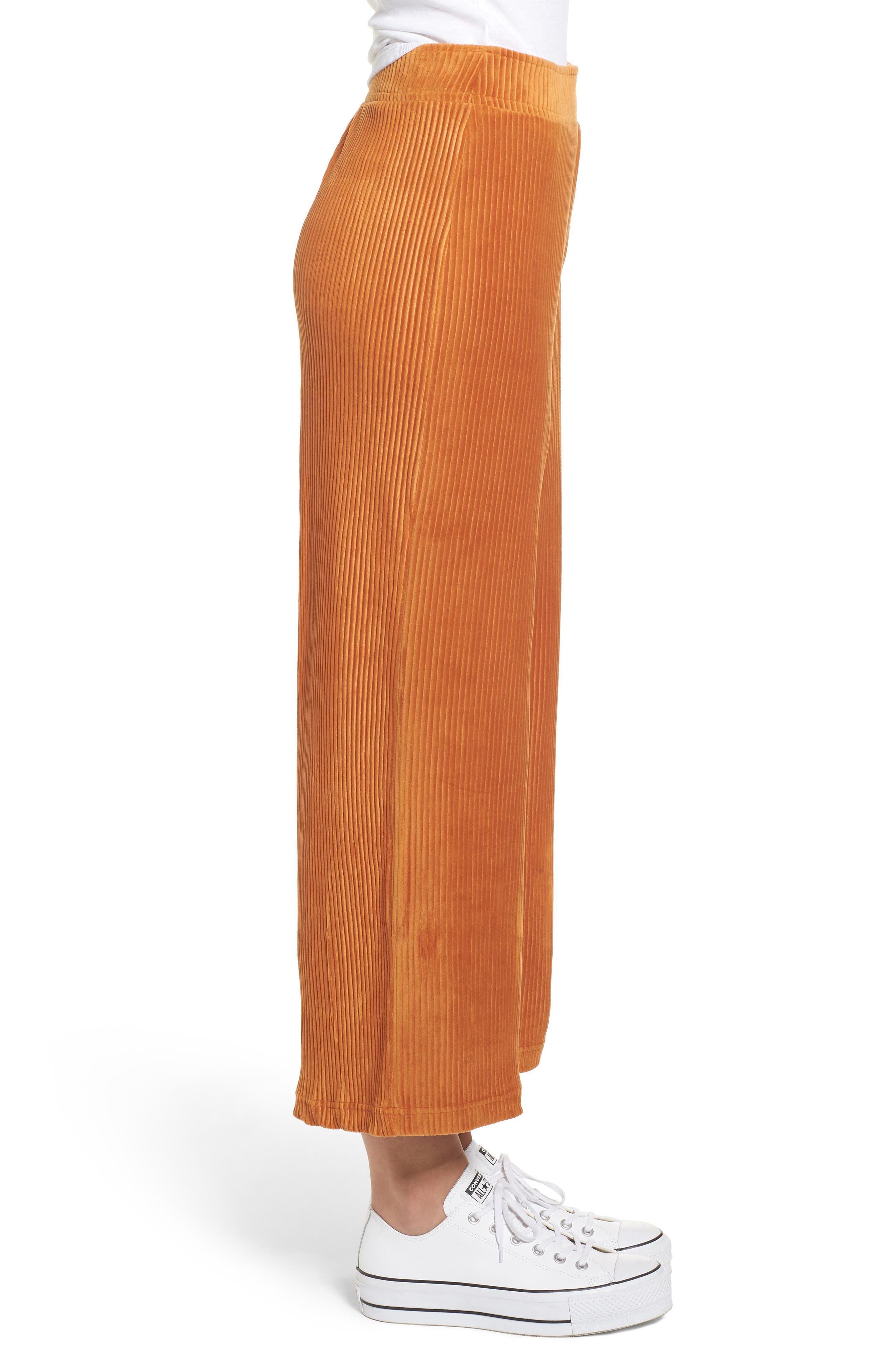 High Rise Knit Corduroy Crop Pants,                             Alternate thumbnail 4, color,                             RUST CIDER