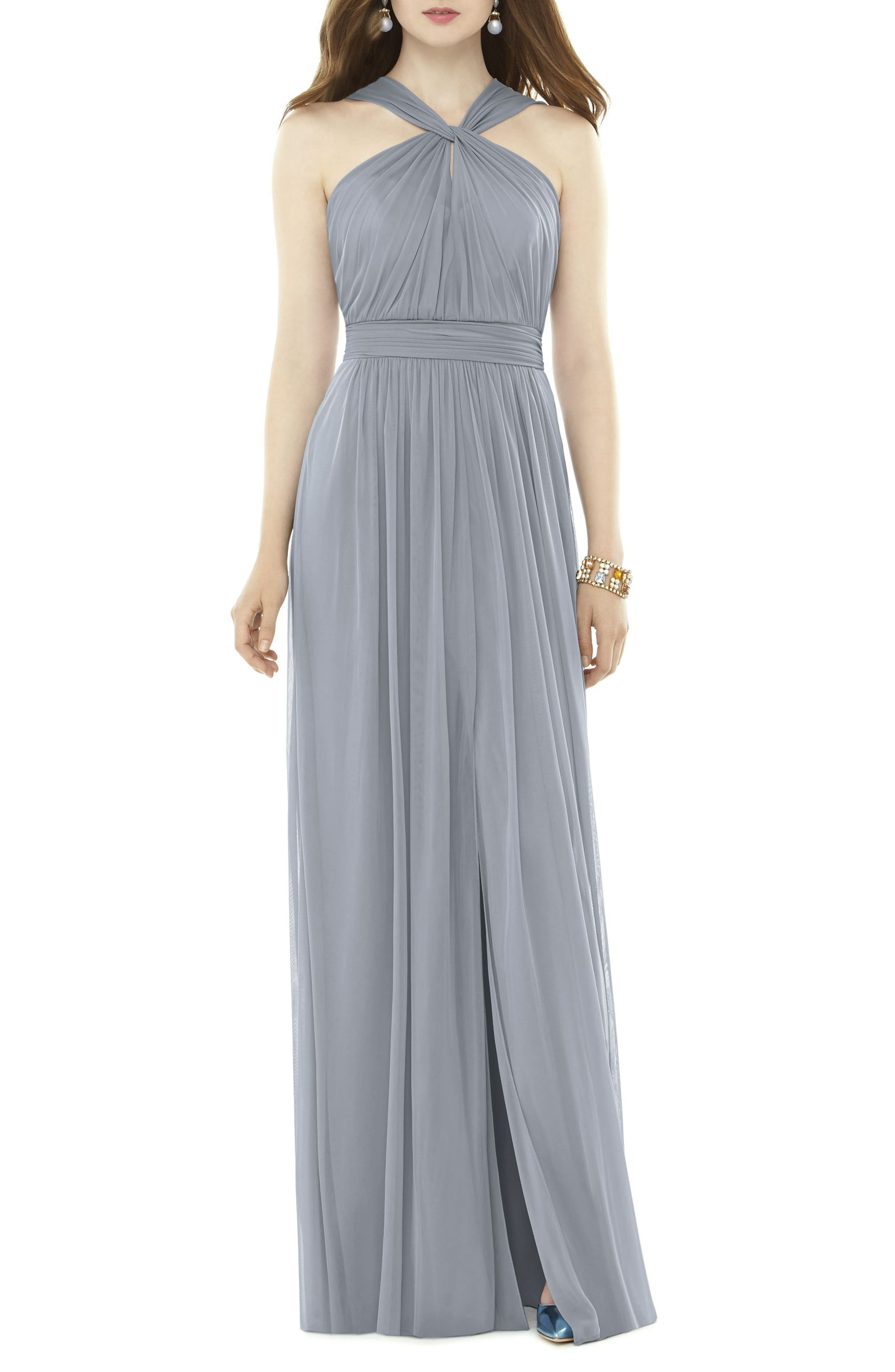 Alfred Sung Twist Neck Chiffon Knit Gown, Grey