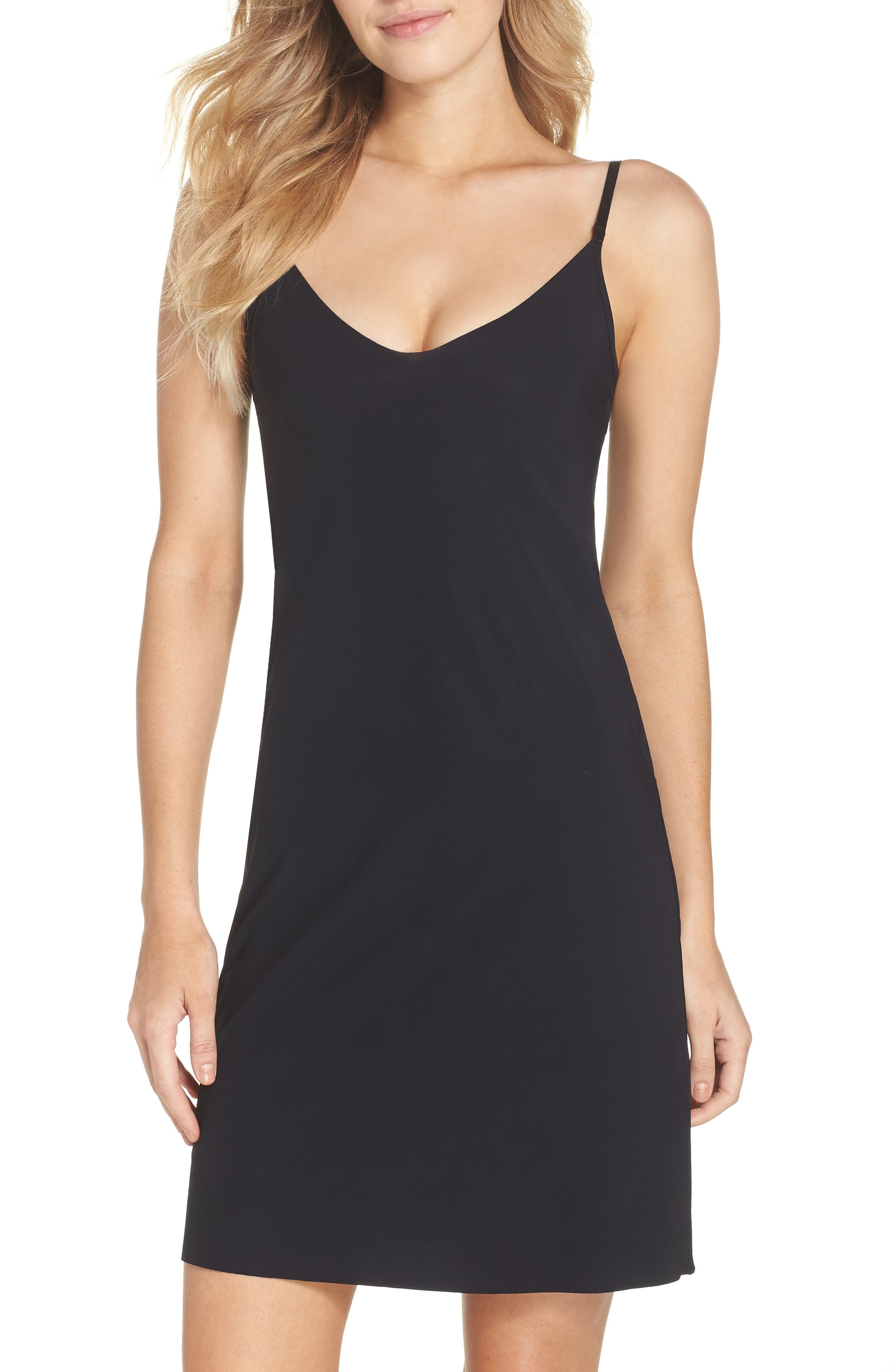 Fitted Slip,                             Main thumbnail 1, color,                             BLACK