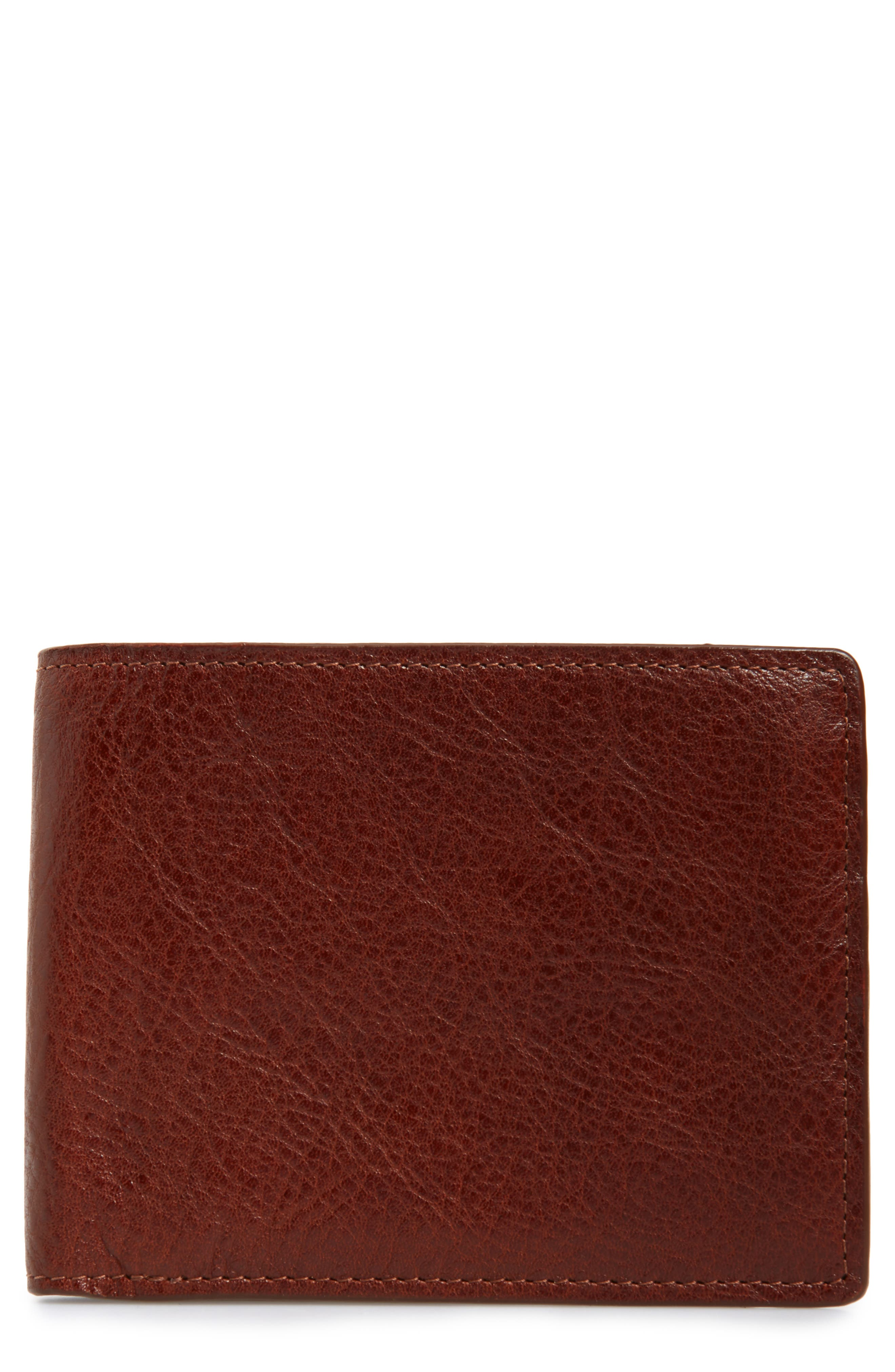 NORDSTROM MEN'S SHOP,                             Richmond Leather Wallet,                             Main thumbnail 1, color,                             BROWN HENNA