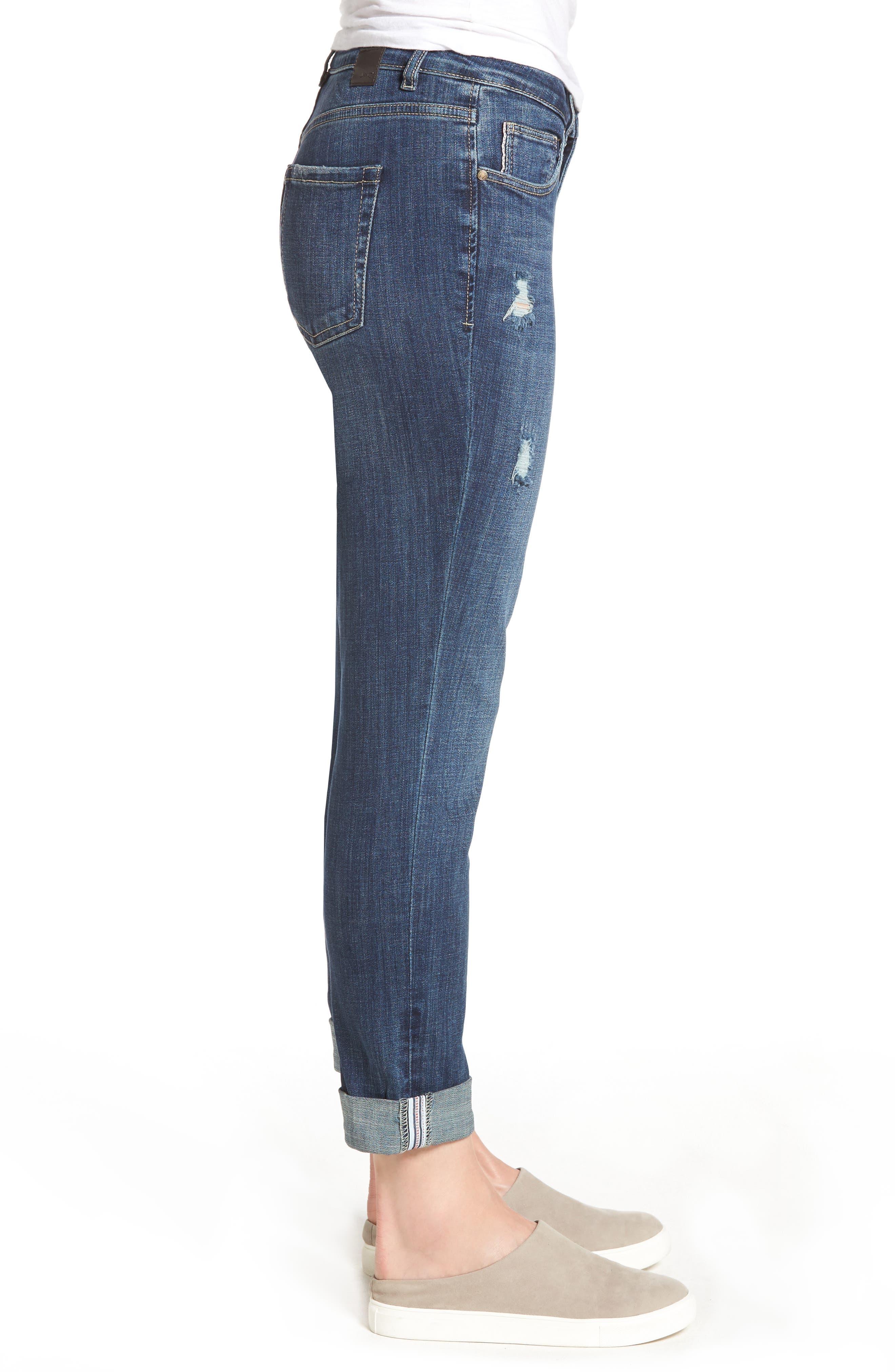 Carter Cuffed Stretch Girlfriend Jeans,                             Alternate thumbnail 3, color,                             MEDIUM INDIGO