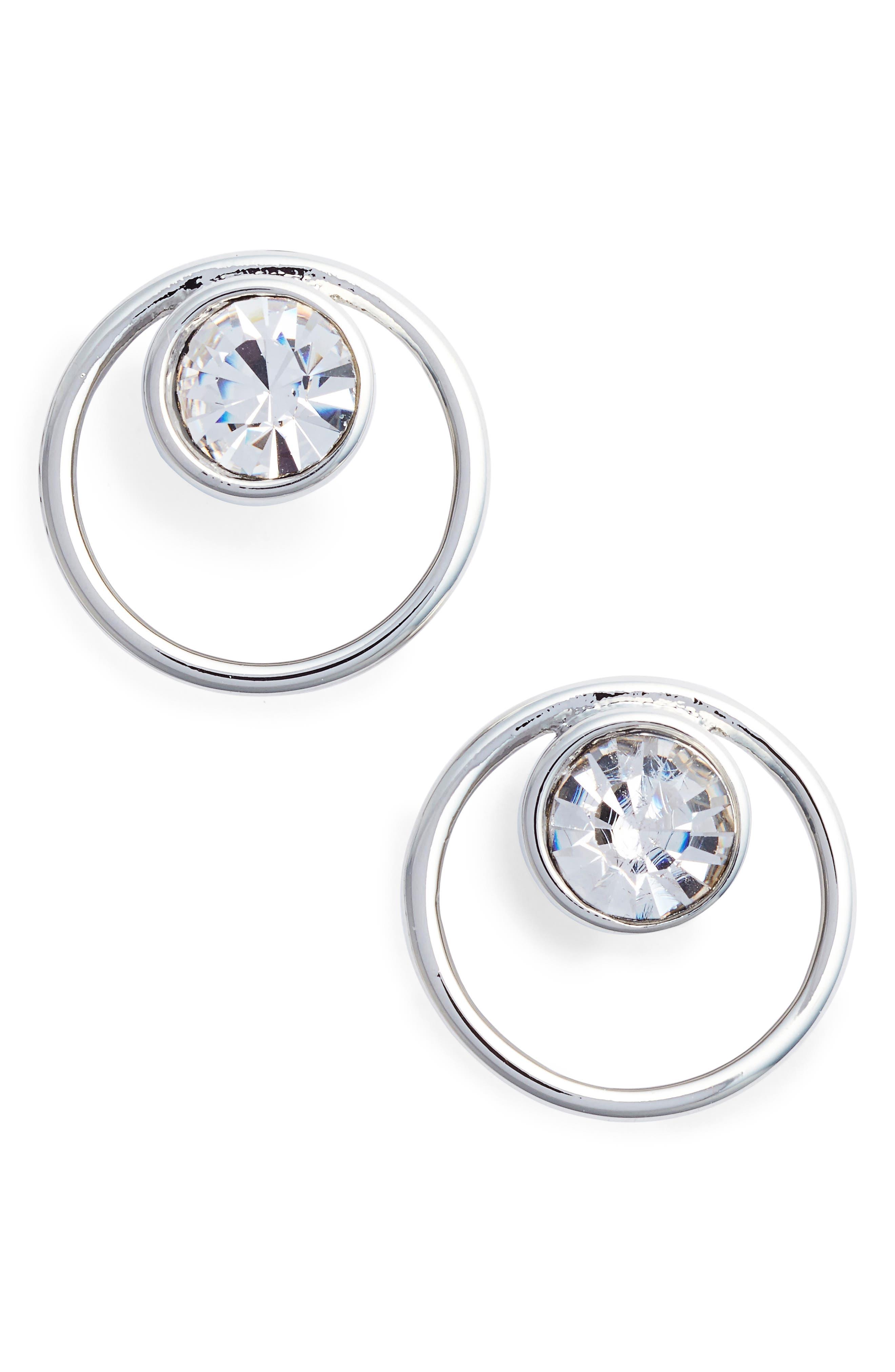 Open Circle Stone Stud Earrings,                             Main thumbnail 1, color,                             040