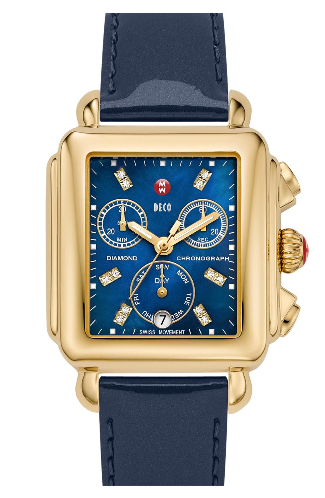 Deco Diamond Dial Gold Plated Watch Case, 33mm x 35mm,                             Alternate thumbnail 26, color,