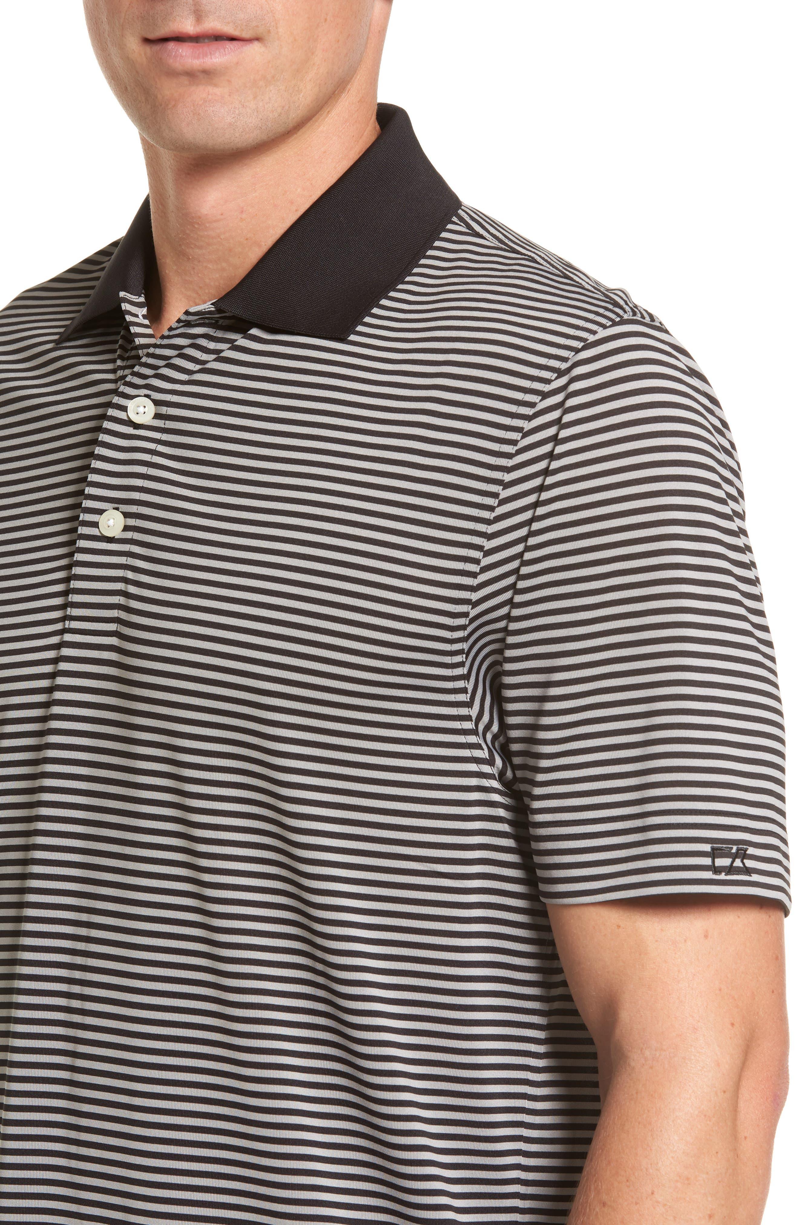Trevor DryTec Moisture Wicking Golf Polo,                             Alternate thumbnail 4, color,                             BLACK/ OXIDE