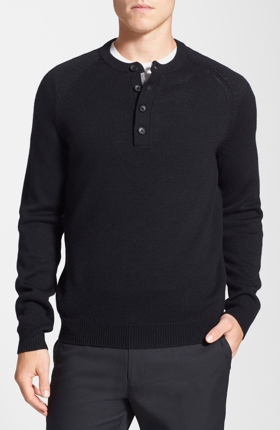 Merino Wool Henley Sweater,                             Main thumbnail 1, color,                             001