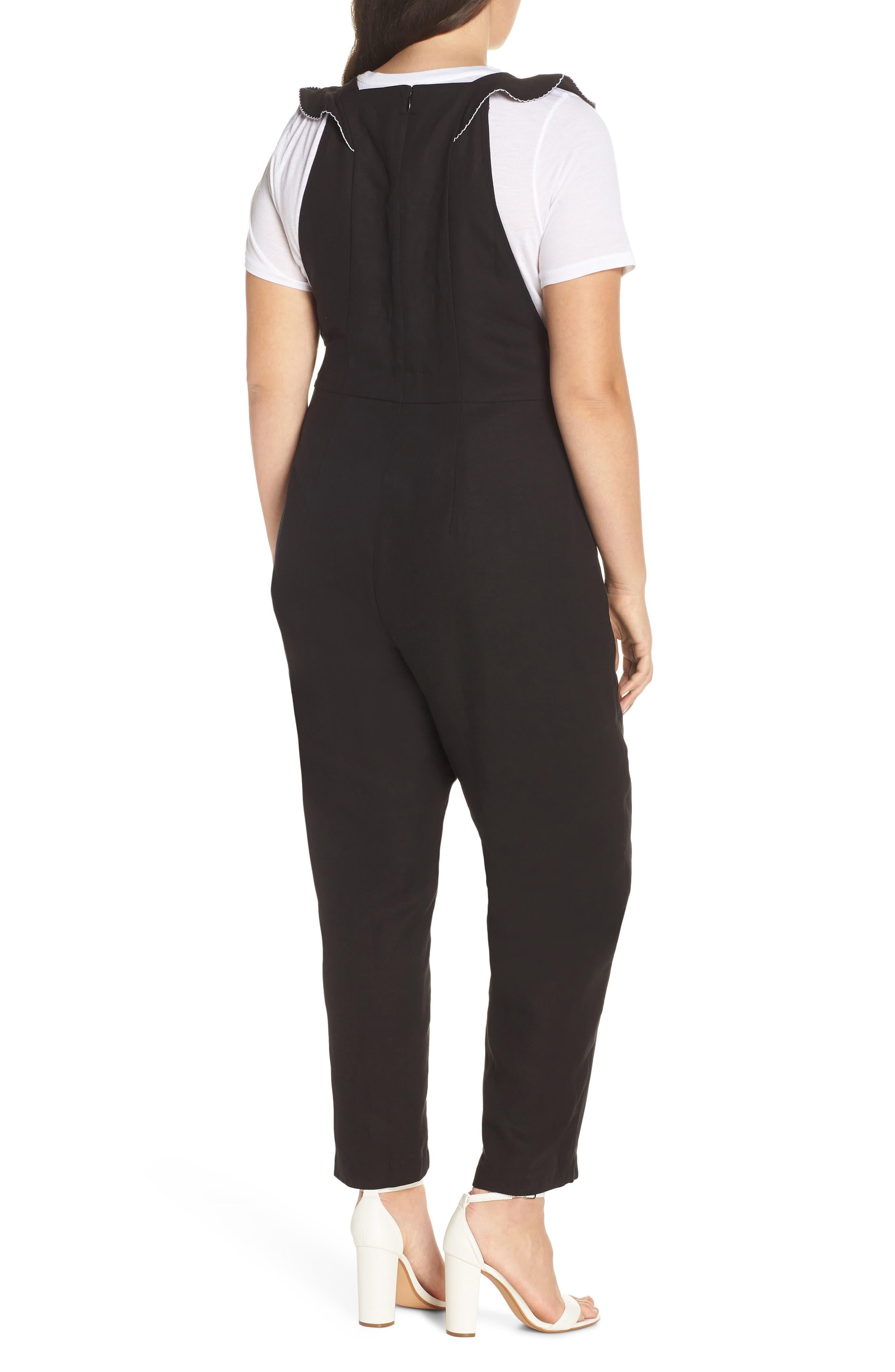 Flounced Embroidered Jumpsuit,                             Alternate thumbnail 9, color,                             BLACK