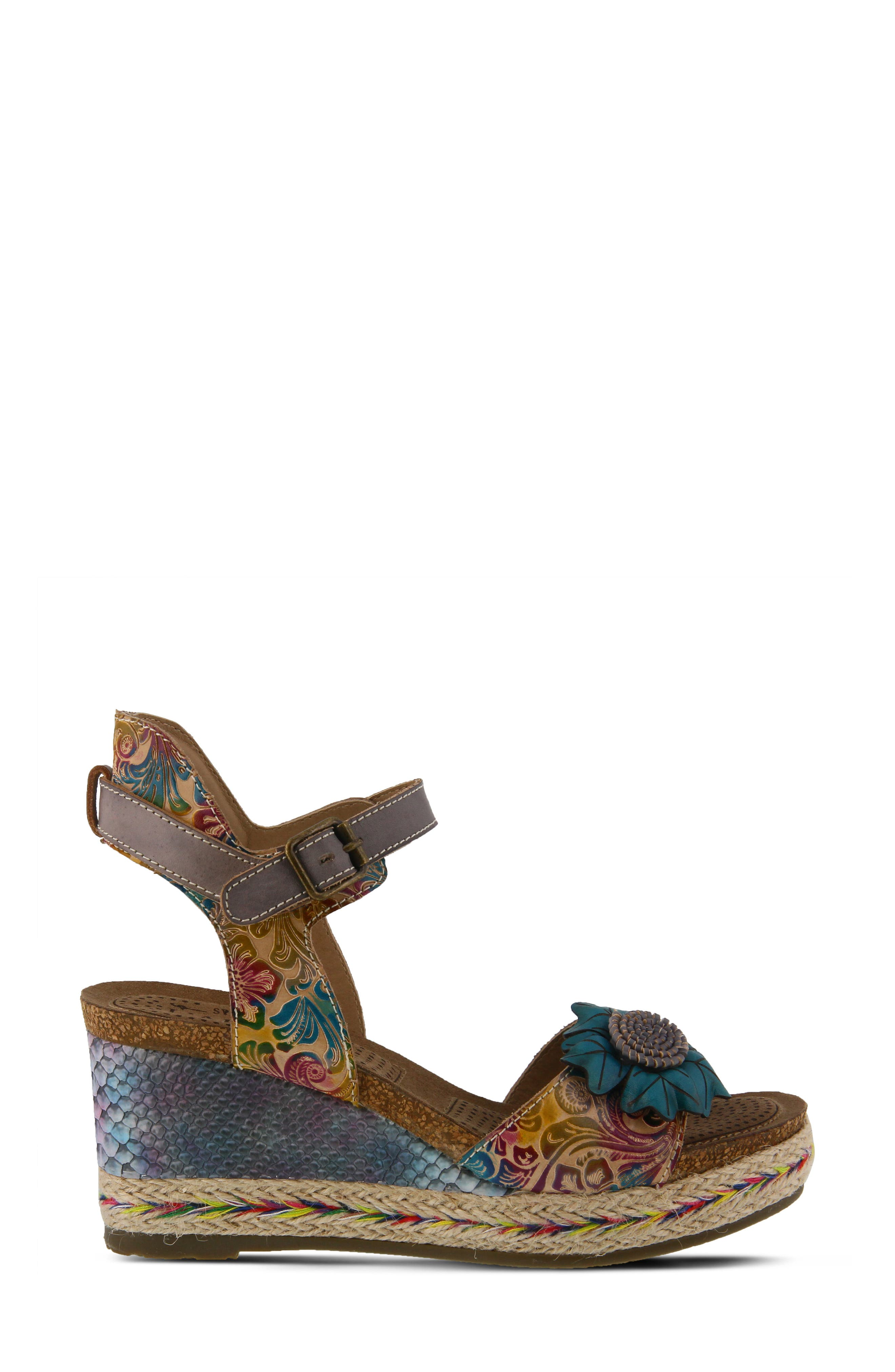 L'ARTISTE,                             Annmarie Wedge Sandal,                             Alternate thumbnail 3, color,                             GREY MULTI LEATHER