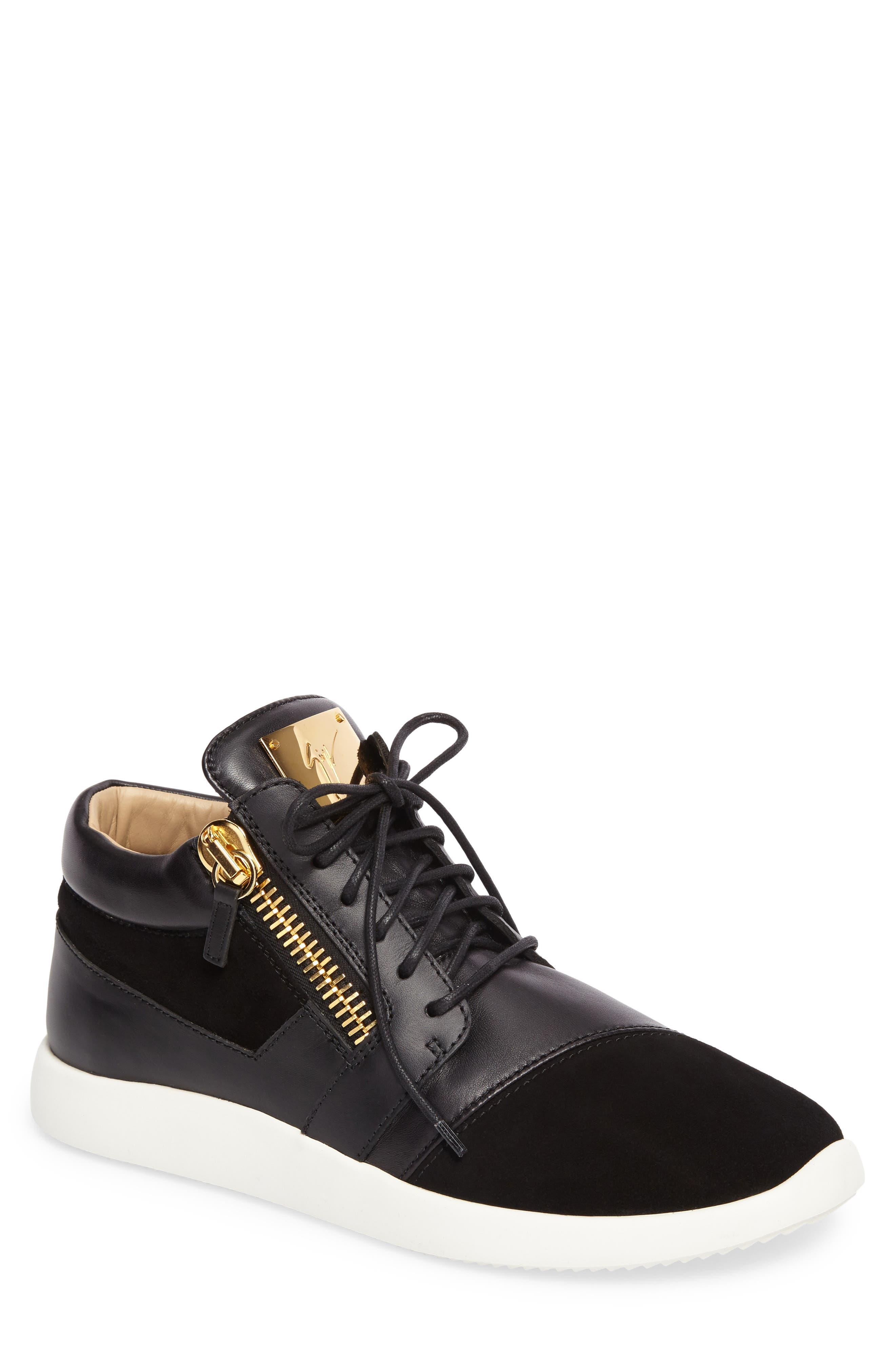Mid-Top Sneaker,                             Main thumbnail 1, color,                             BLACK