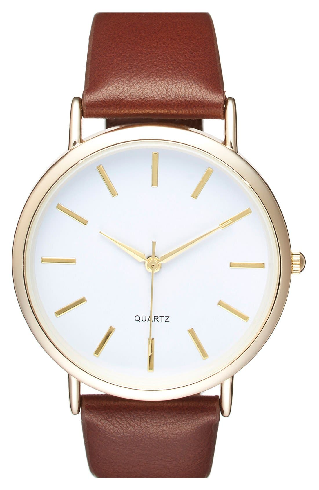 Round Face Faux Leather Strap Watch, 35mm,                         Main,                         color, 210