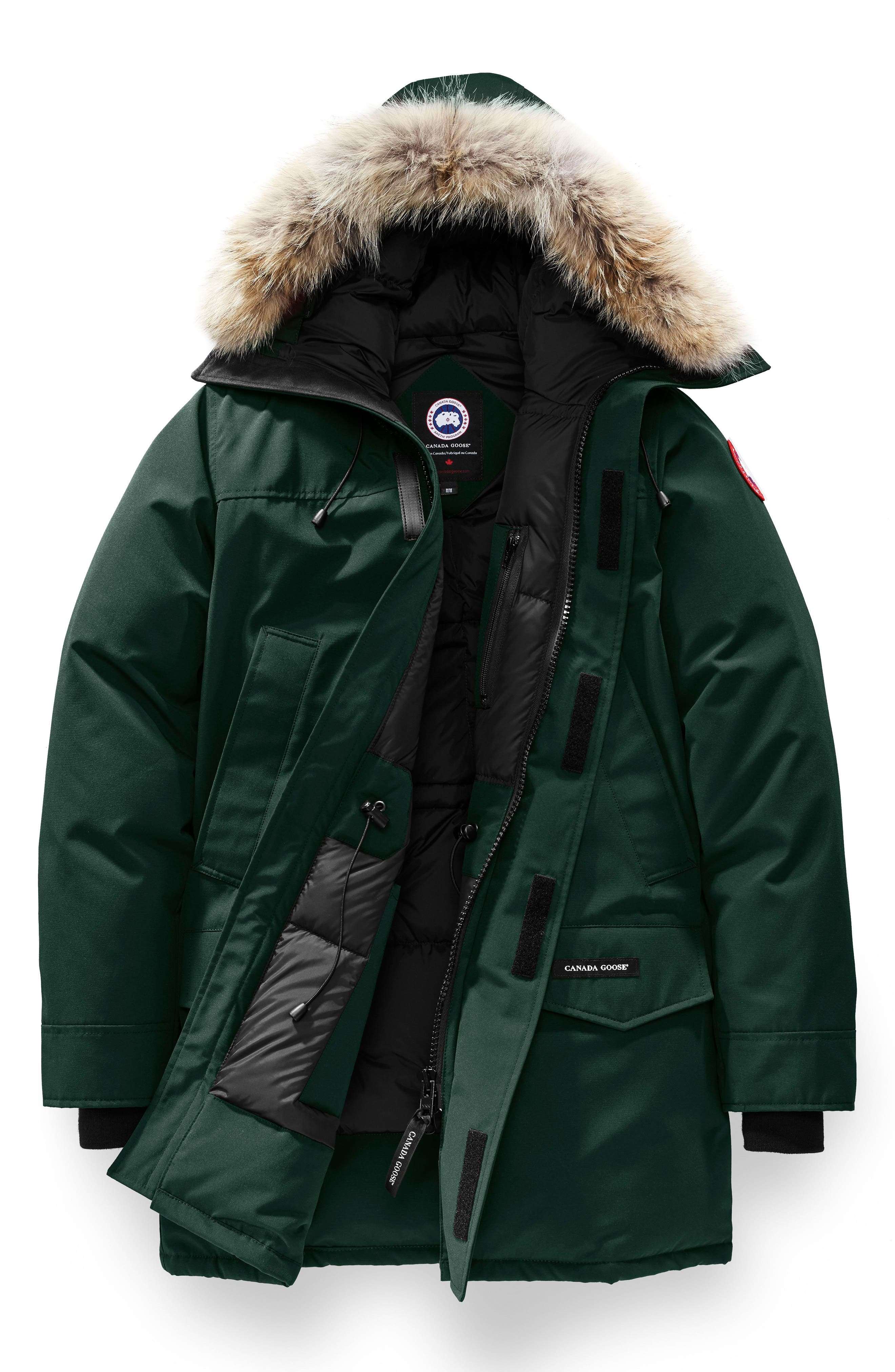 Langford Slim Fit Down Parka with Genuine Coyote Fur Trim,                             Alternate thumbnail 4, color,                             SPRUCE