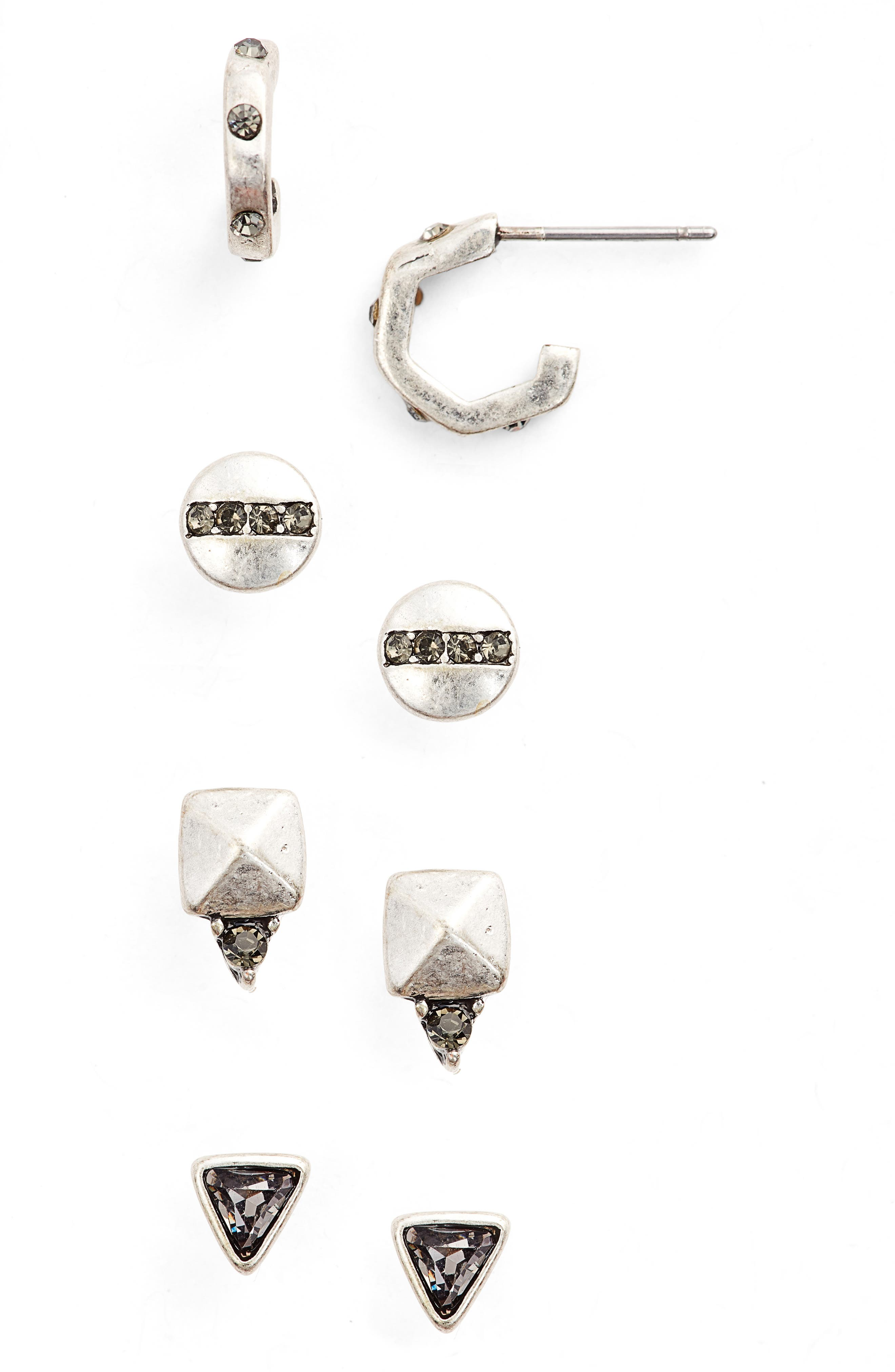 Pack of 4 Stud Earrings,                         Main,                         color,