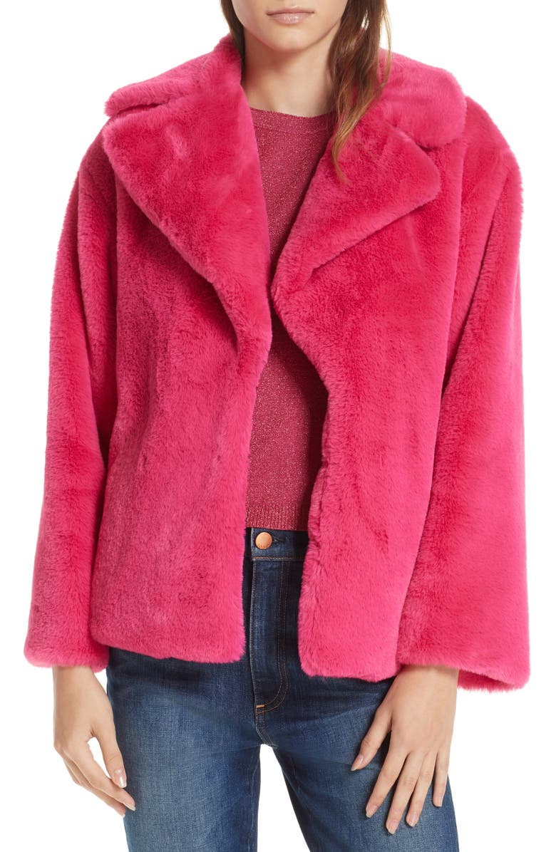 Thora Faux Fur Coat,                         Main,                         color, FUCHSIA