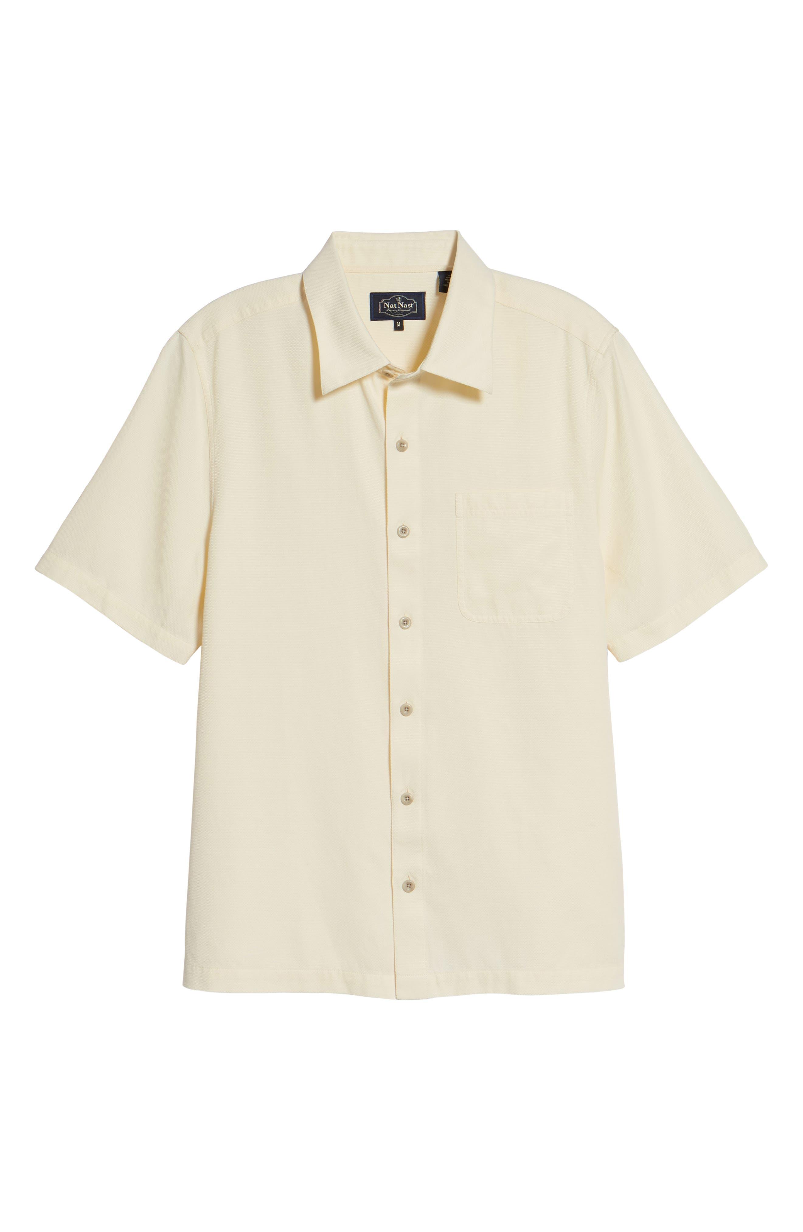 'Havana Cloth' Regular Fit Short Sleeve Silk & Cotton Sport Shirt,                             Alternate thumbnail 6, color,                             100