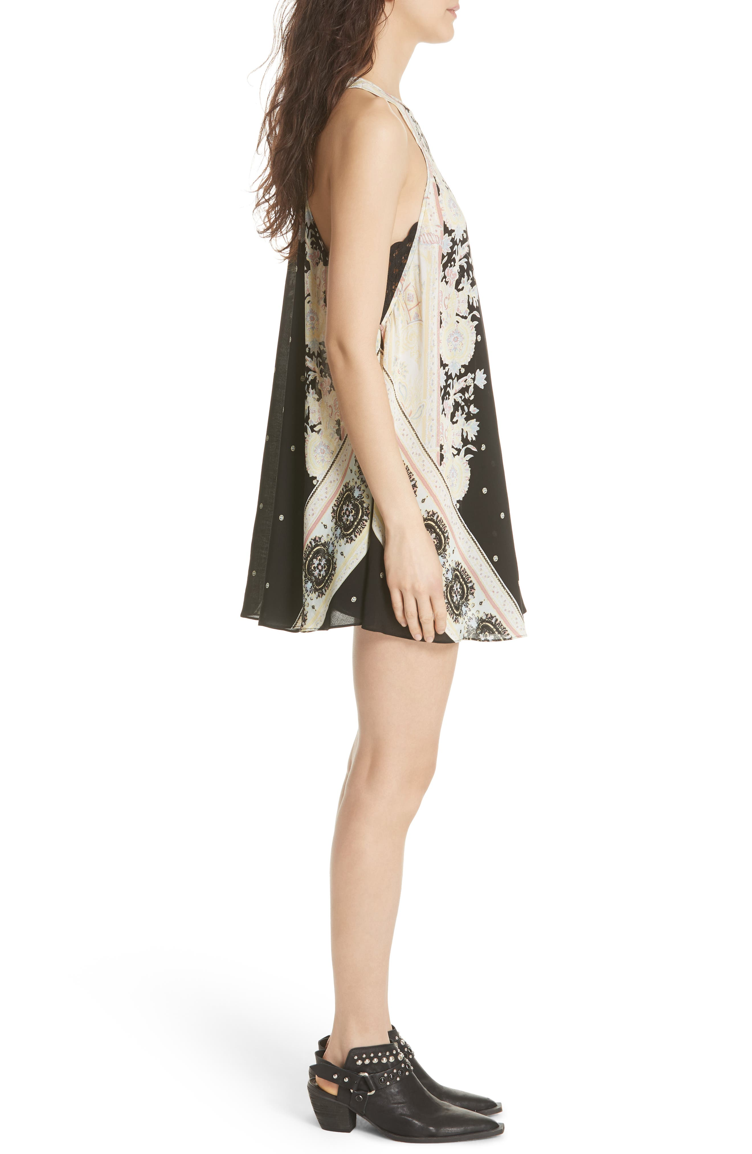 Darjeeling Print Minidress,                             Alternate thumbnail 3, color,                             BLACK COMBO