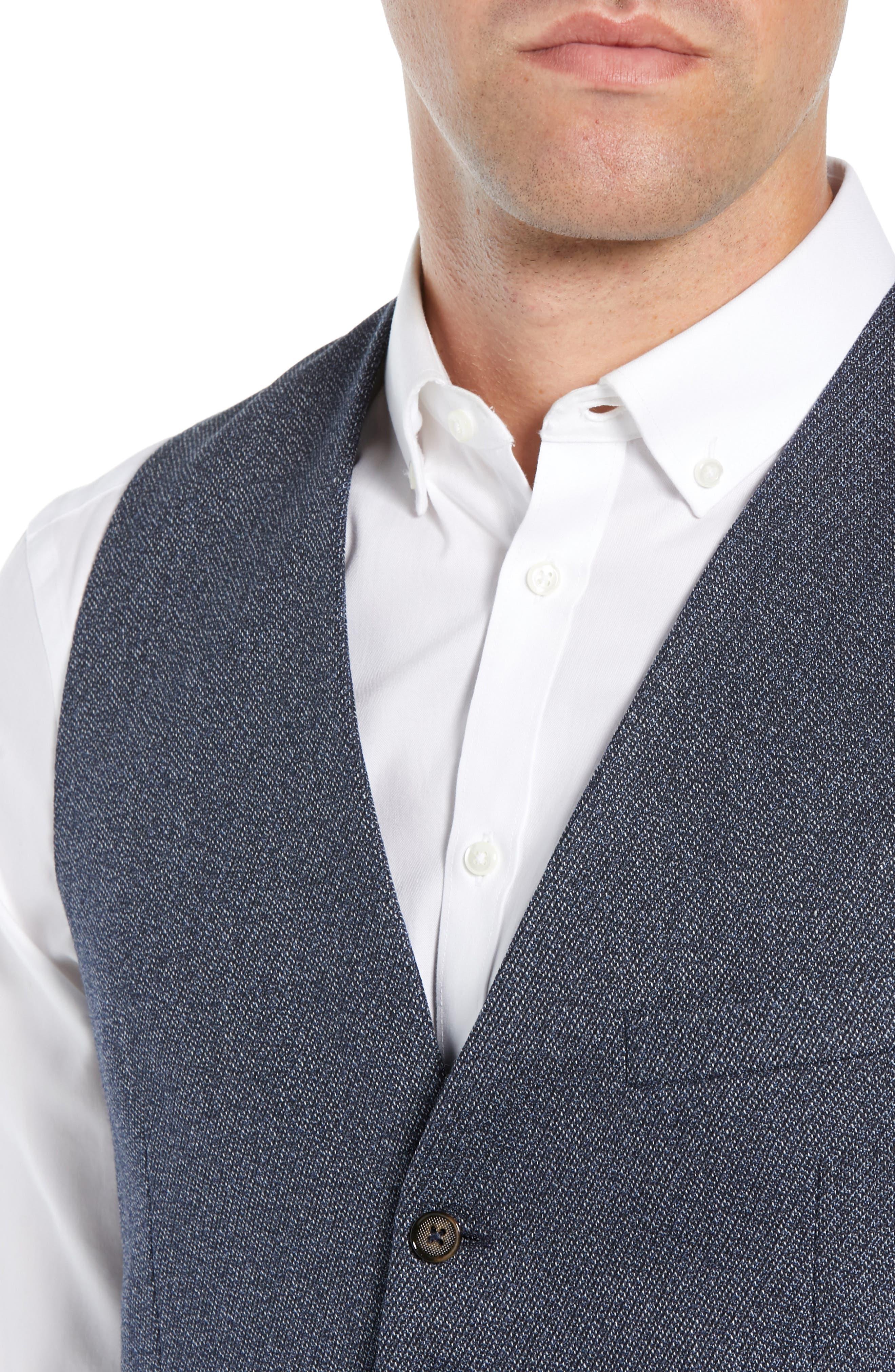 Slim Fit Bufwai Twill Vest,                             Alternate thumbnail 4, color,                             BLUE