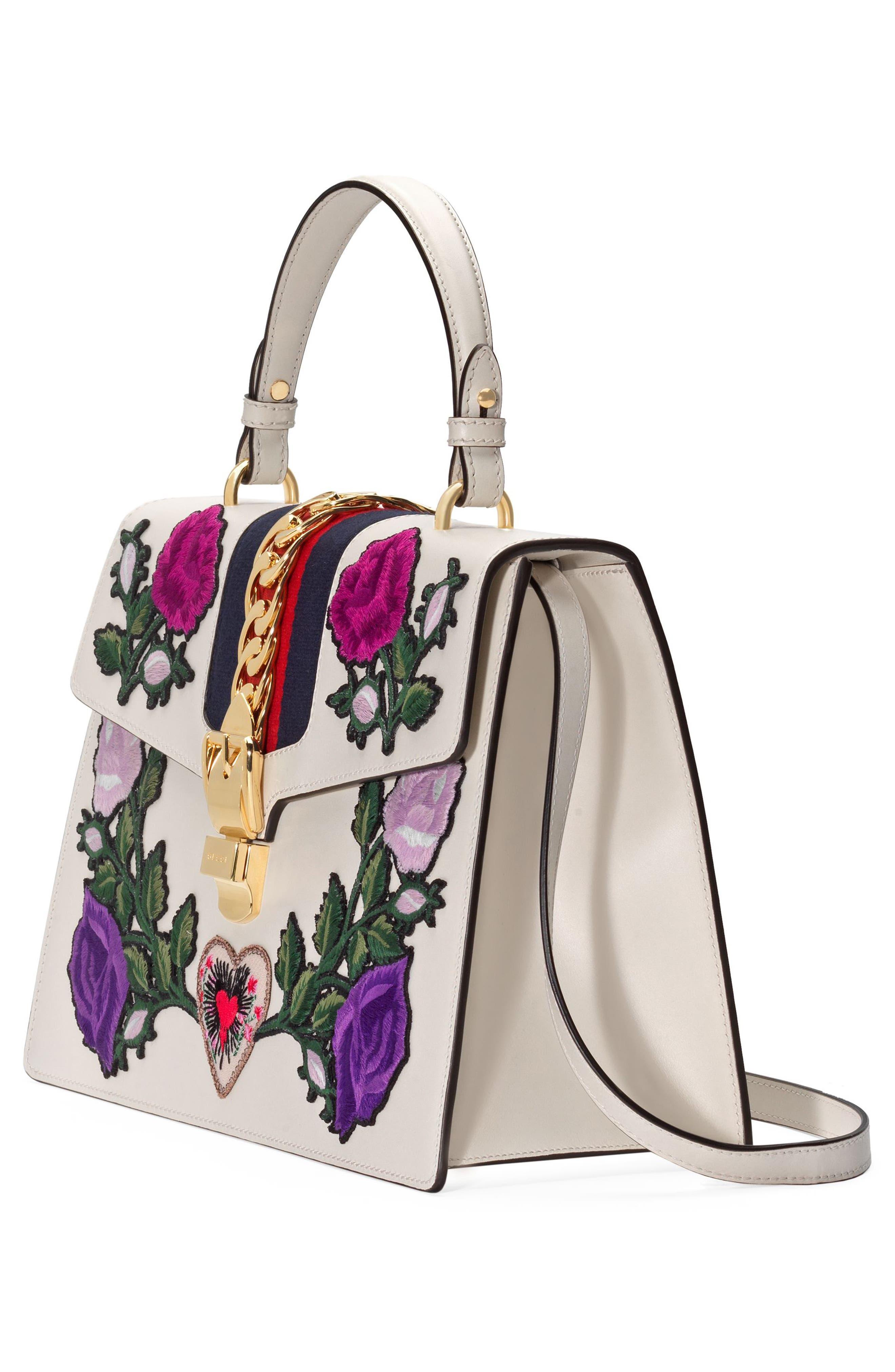 Medium Sylvie Floral Patch Top Handle Leather Shoulder Bag,                             Alternate thumbnail 2, color,                             176