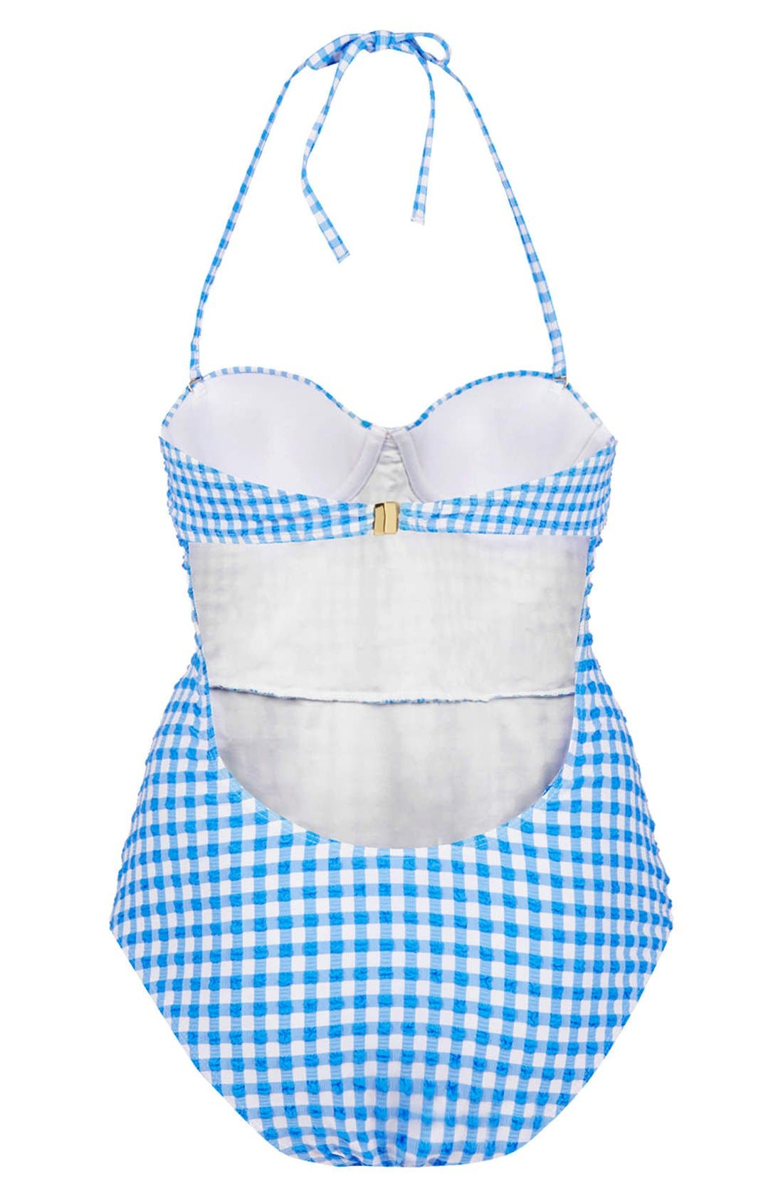 TOPSHOP,                             Gingham One-Piece Swimsuit,                             Alternate thumbnail 2, color,                             400