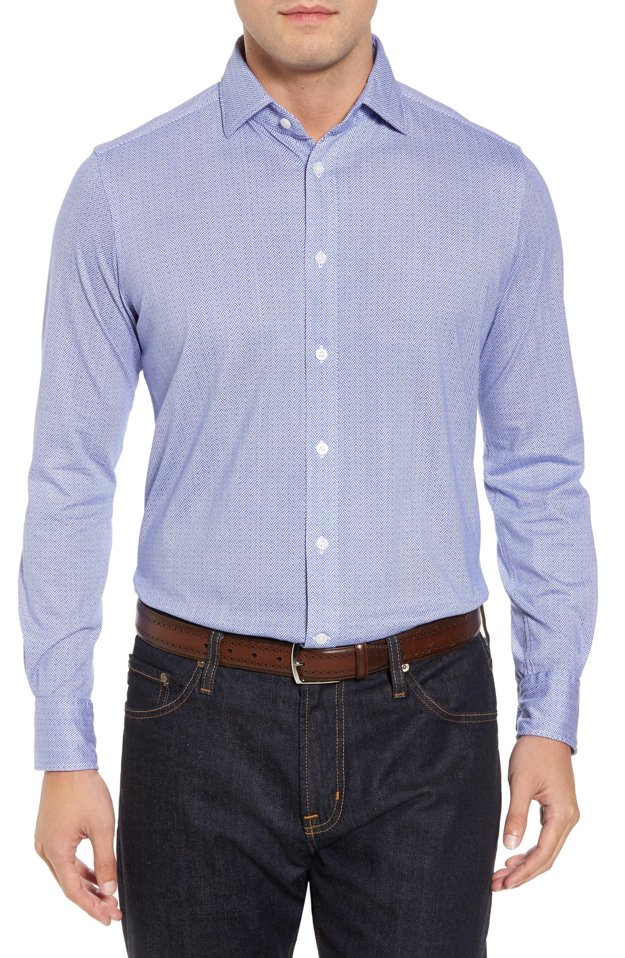 Herringbone Knit Sport Shirt,                         Main,                         color, 400