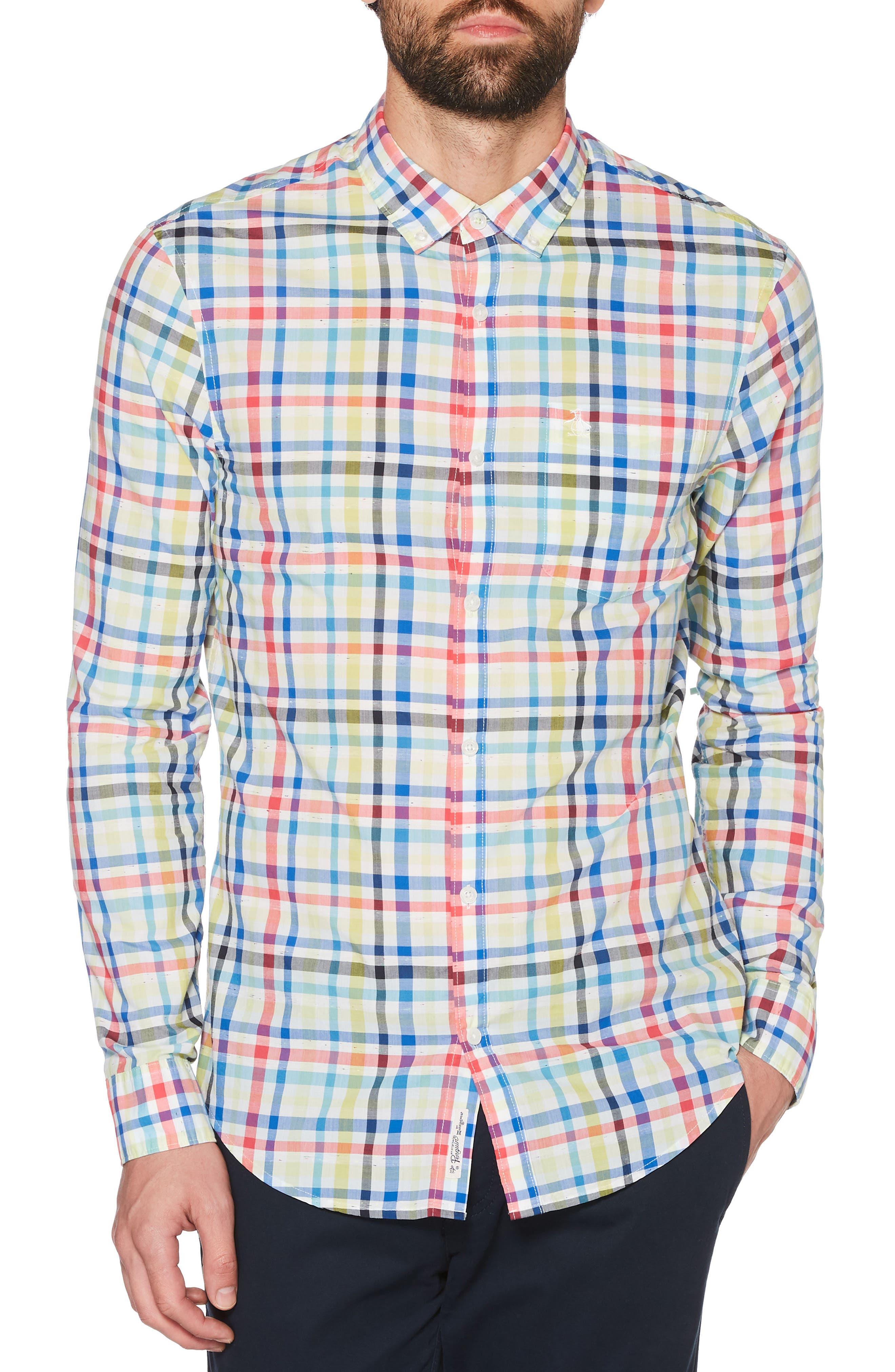P55 Plaid Woven Shirt,                             Main thumbnail 1, color,                             462
