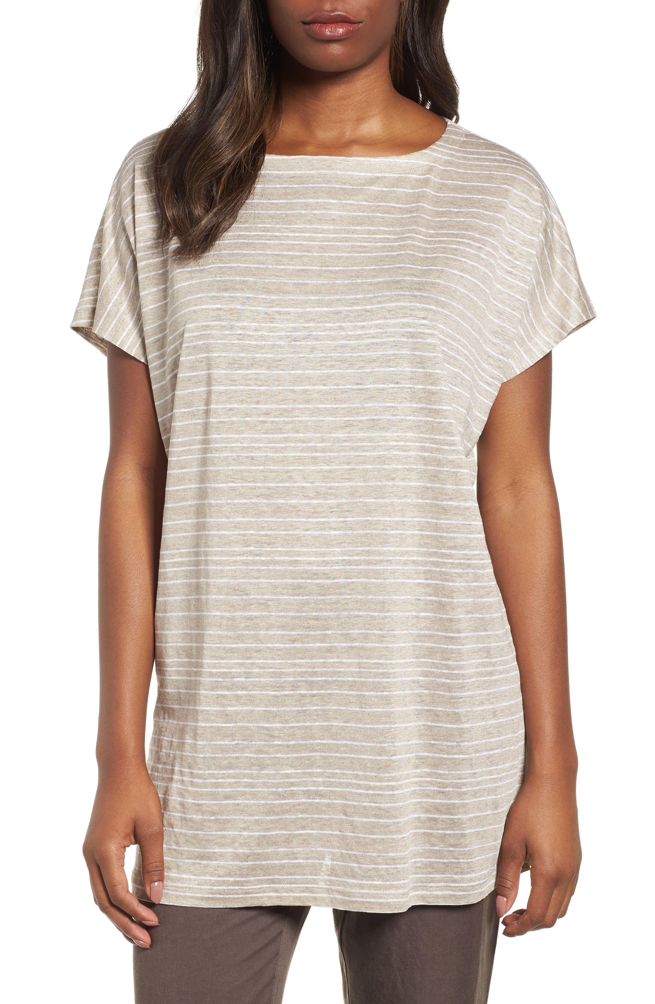 Stripe Organic Linen Tunic,                             Main thumbnail 2, color,