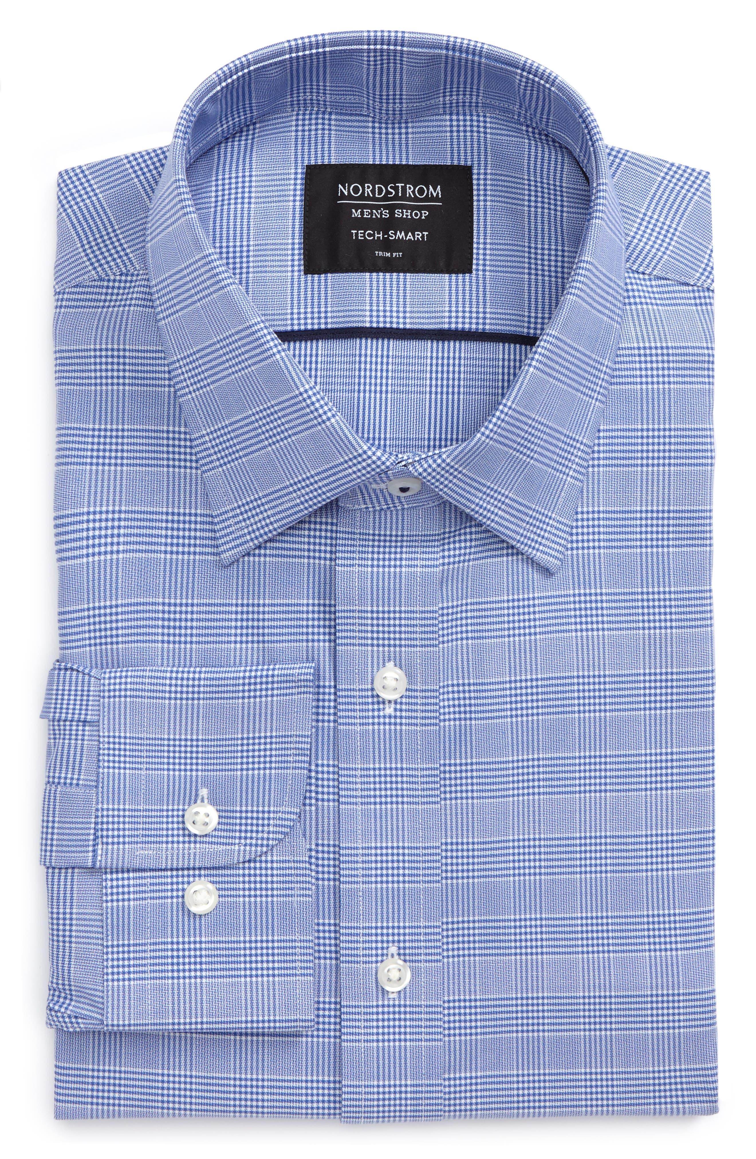 Tech-Smart Trim Fit Stretch Plaid Dress Shirt,                             Alternate thumbnail 9, color,