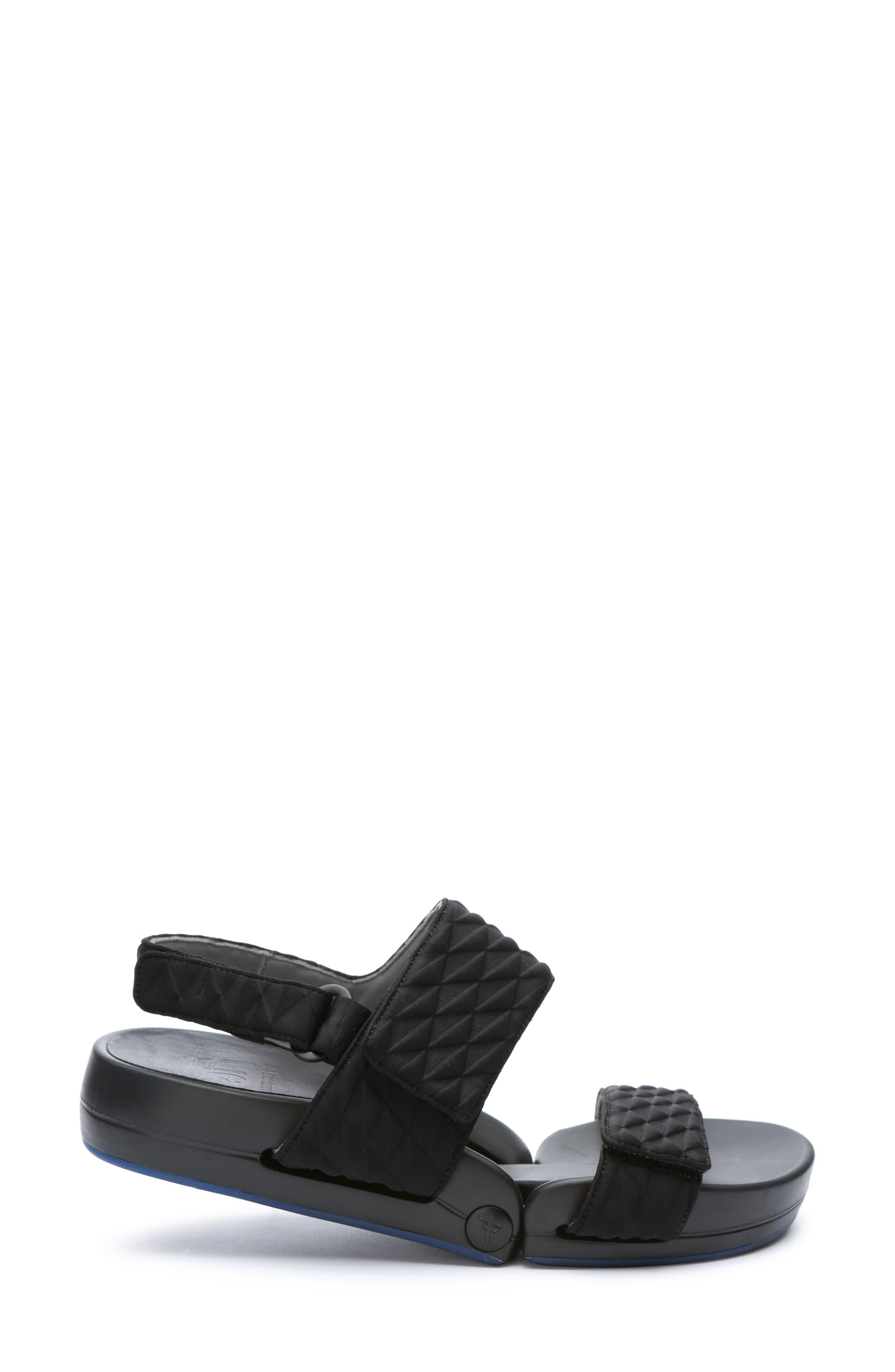 Figulous Diamond Embossed Sandal,                             Alternate thumbnail 3, color,                             BLACK DIAMOND FABRIC