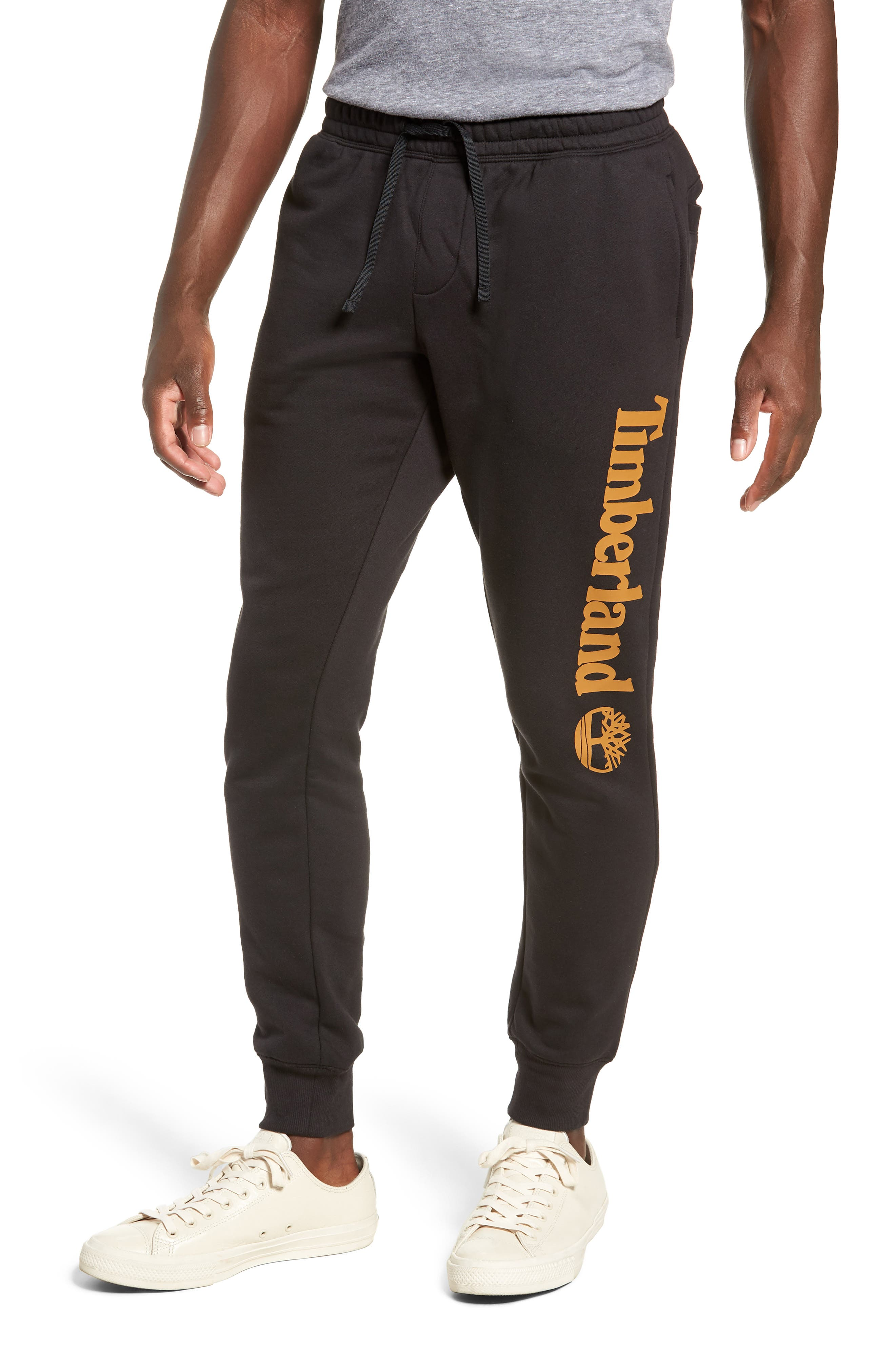Slim Fit Logo Sweatpants,                             Main thumbnail 1, color,                             BLACK