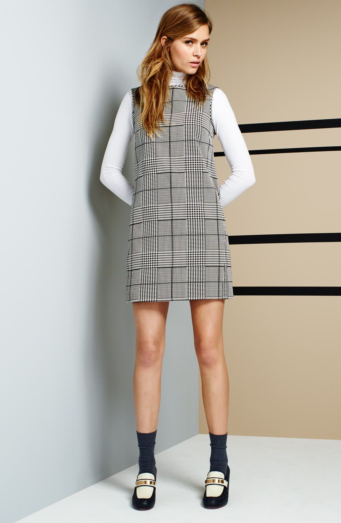'Adraya' Houndstooth Cotton Blend Shift Dress,                             Alternate thumbnail 4, color,                             020