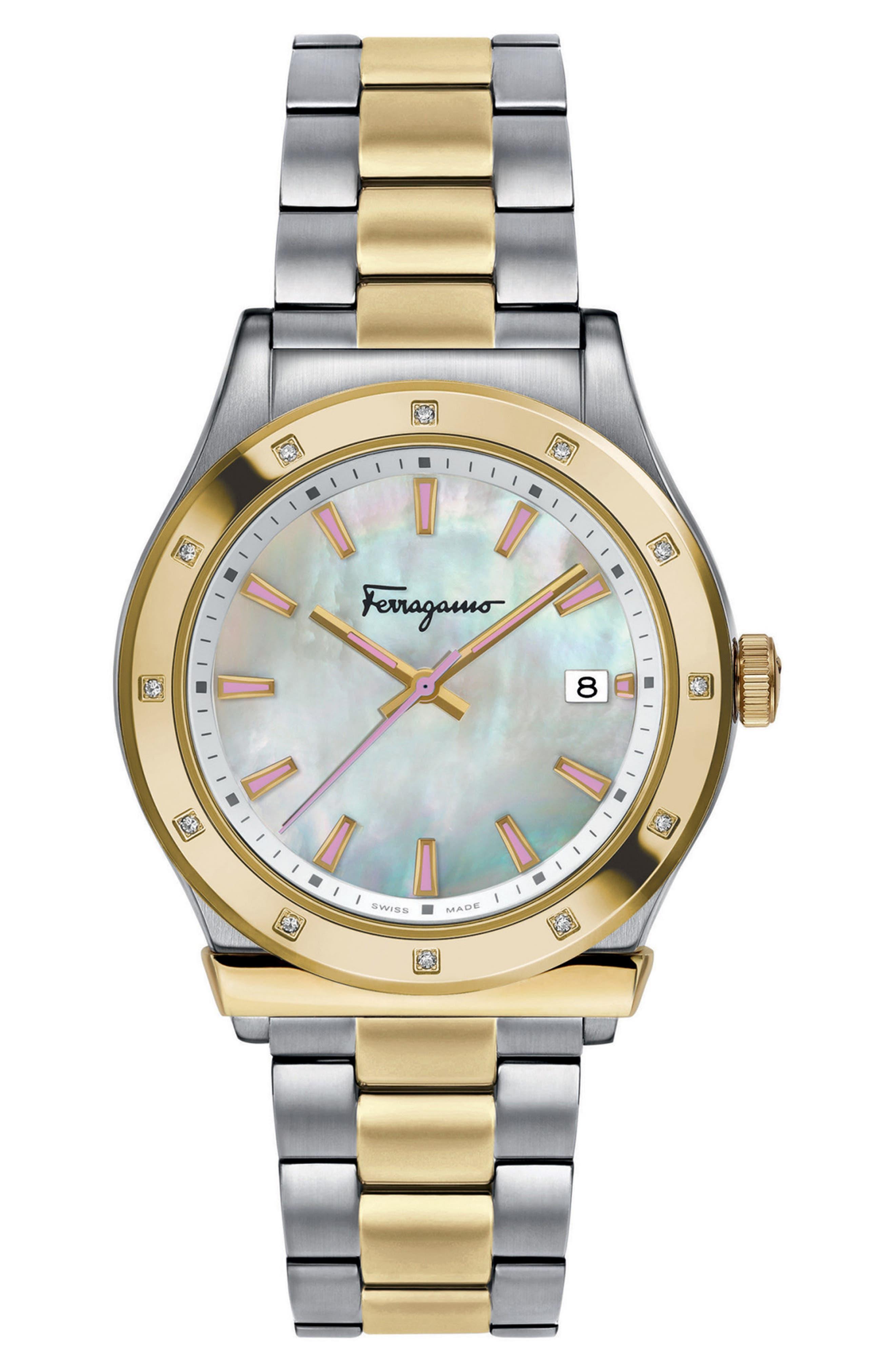 1898 Diamond Bracelet Watch, 40mm,                         Main,                         color, SILVER/ WHITE MOP/ GOLD