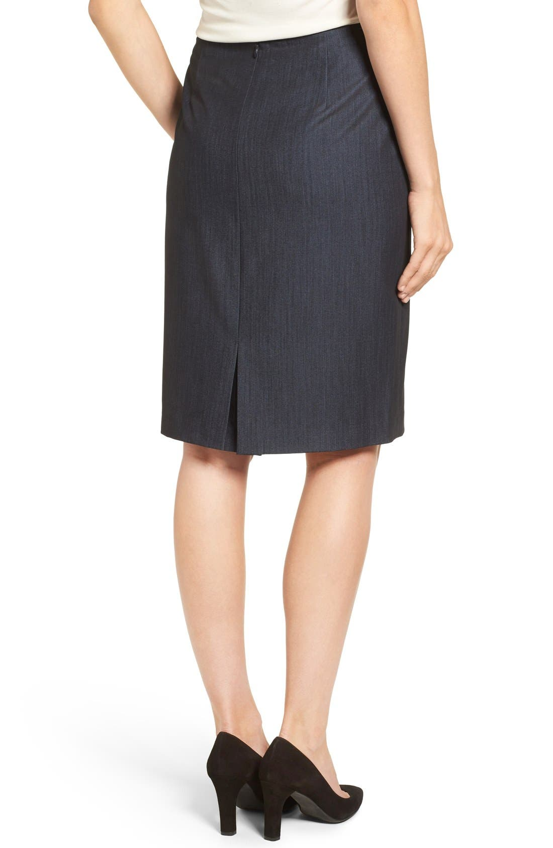 Stretch Woven Suit Skirt,                             Alternate thumbnail 2, color,                             INDIGO TWILL