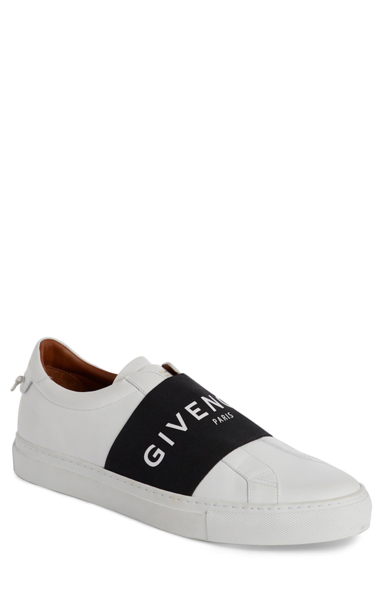 Logo Strap Slip-On Sneaker,                         Main,                         color, WHITE/ BLACK