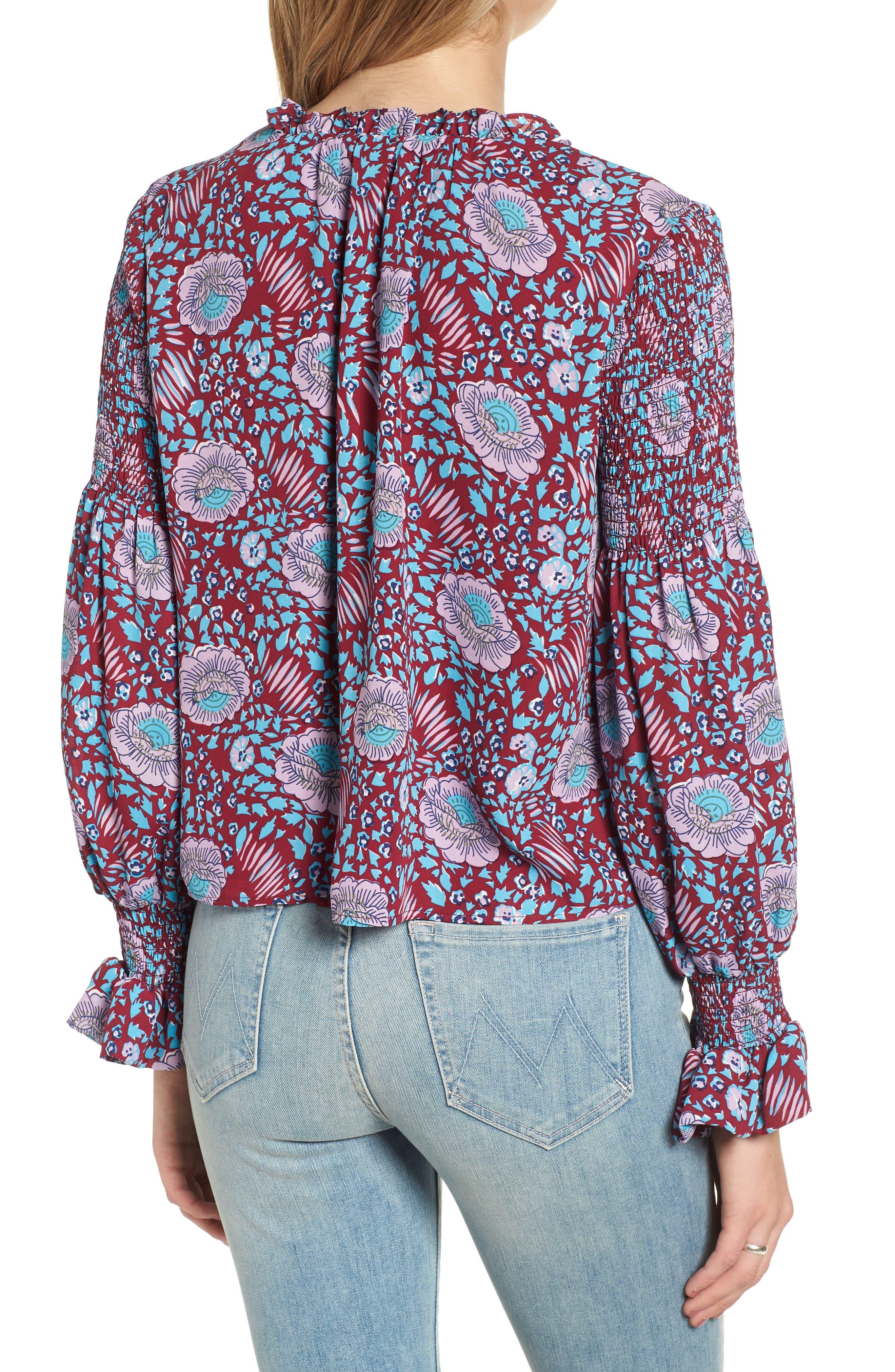 Penelope Floral Ruffle Top,                             Alternate thumbnail 2, color,                             DARK RED MULTI