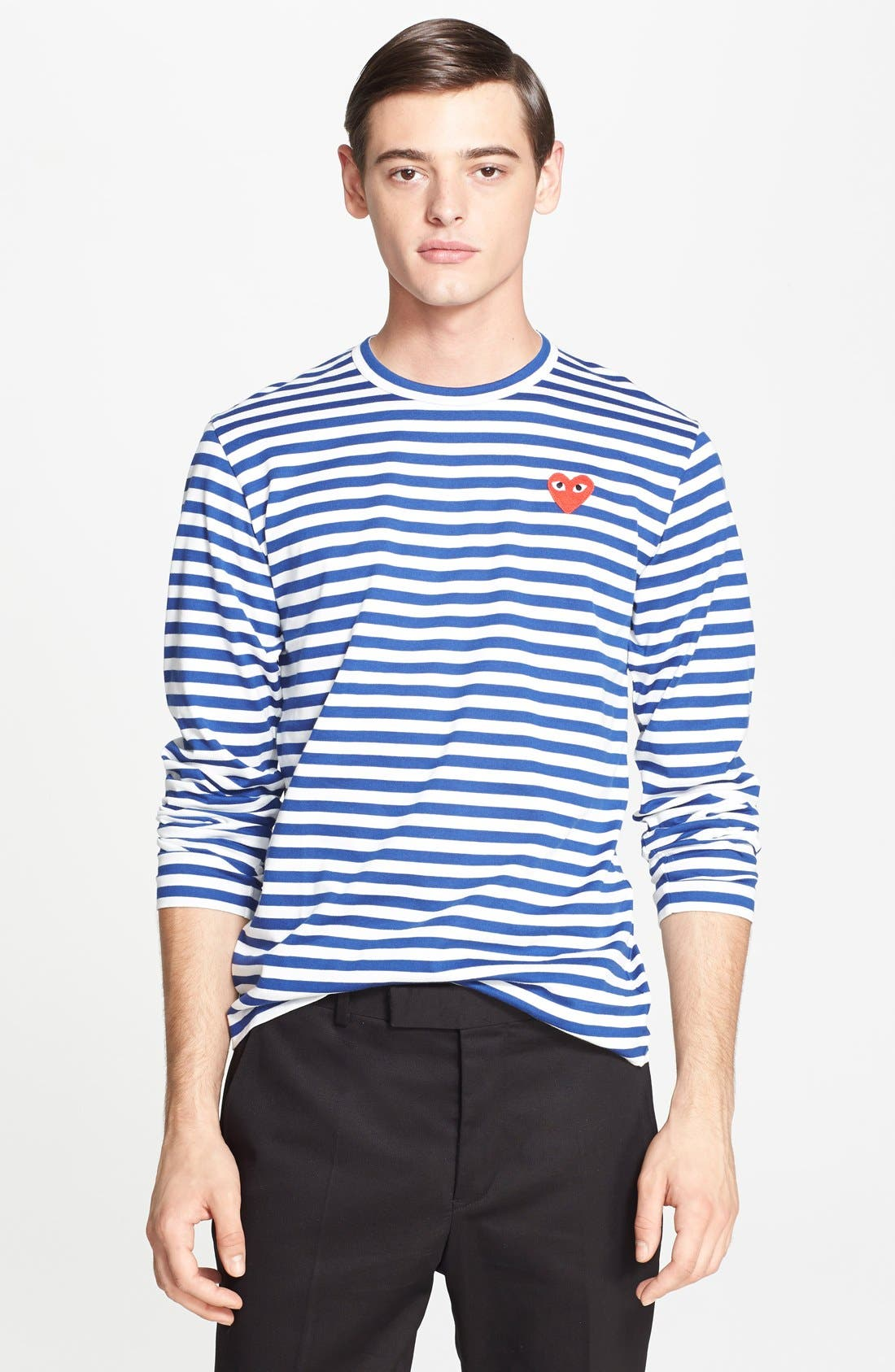 Stripe Long Sleeve T-Shirt,                         Main,                         color, NAVY/ WHITE