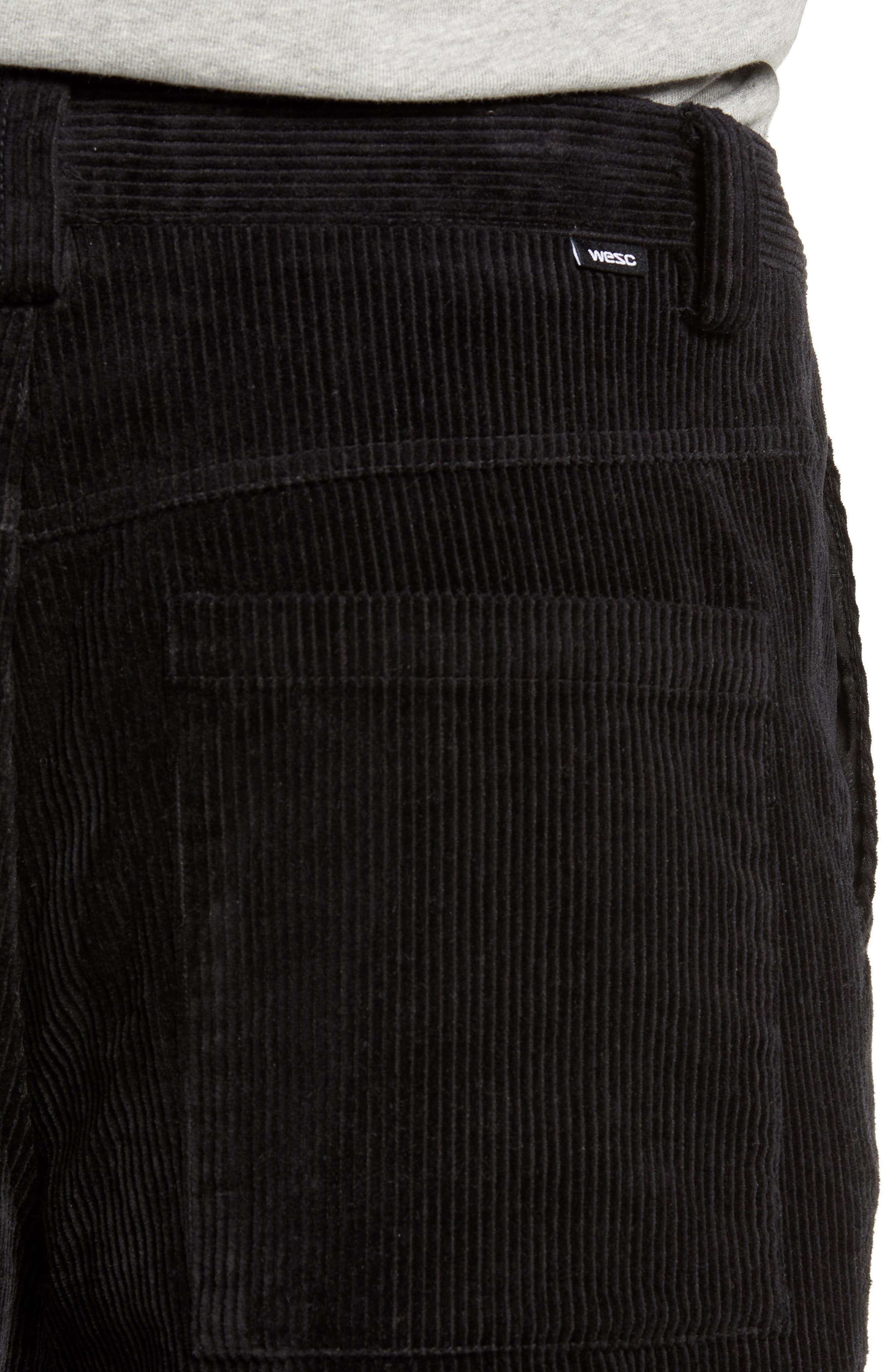 Iggy Wide Wale Cotton Corduroy Straight Leg Pants,                             Alternate thumbnail 4, color,                             BLACK