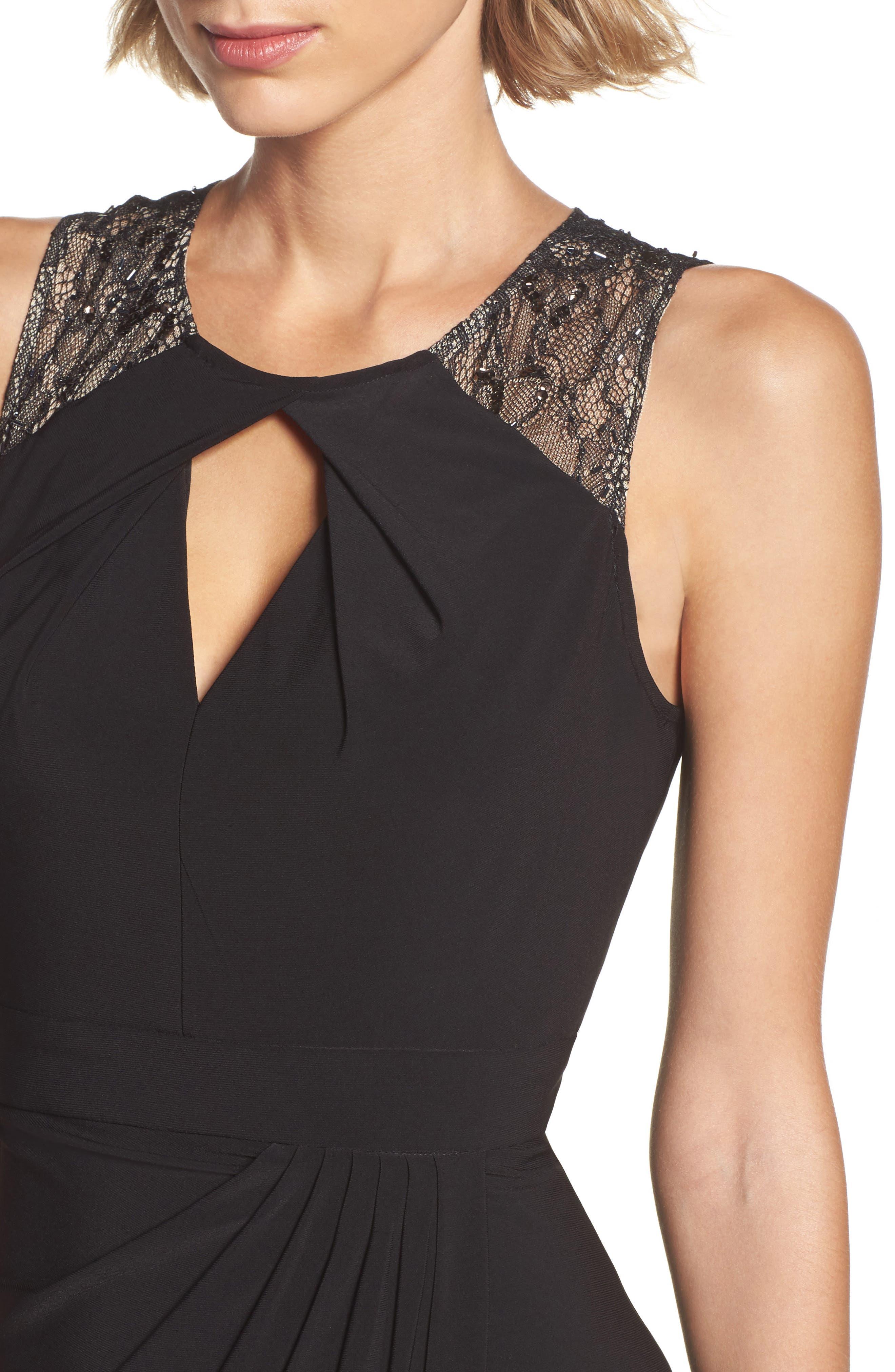 Lace Shoulder Jersey Gown,                             Alternate thumbnail 4, color,                             002
