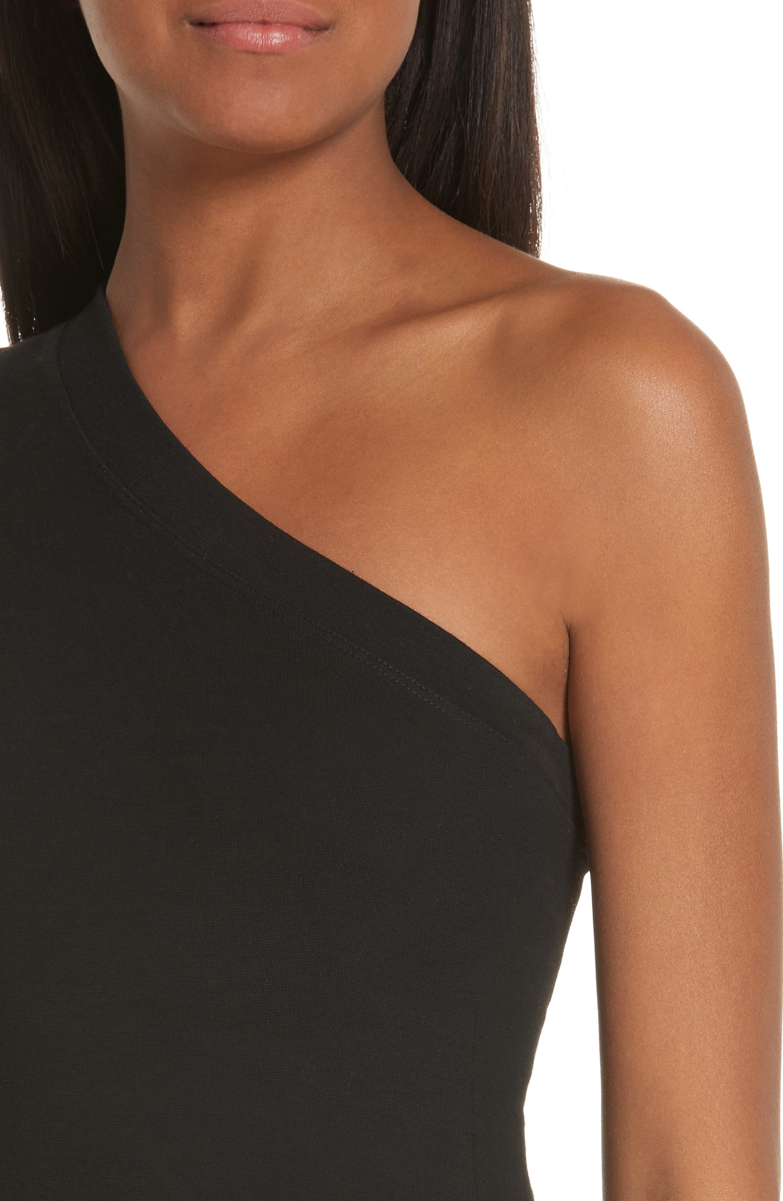 One-Shoulder Jersey Top,                             Alternate thumbnail 4, color,                             BLACK