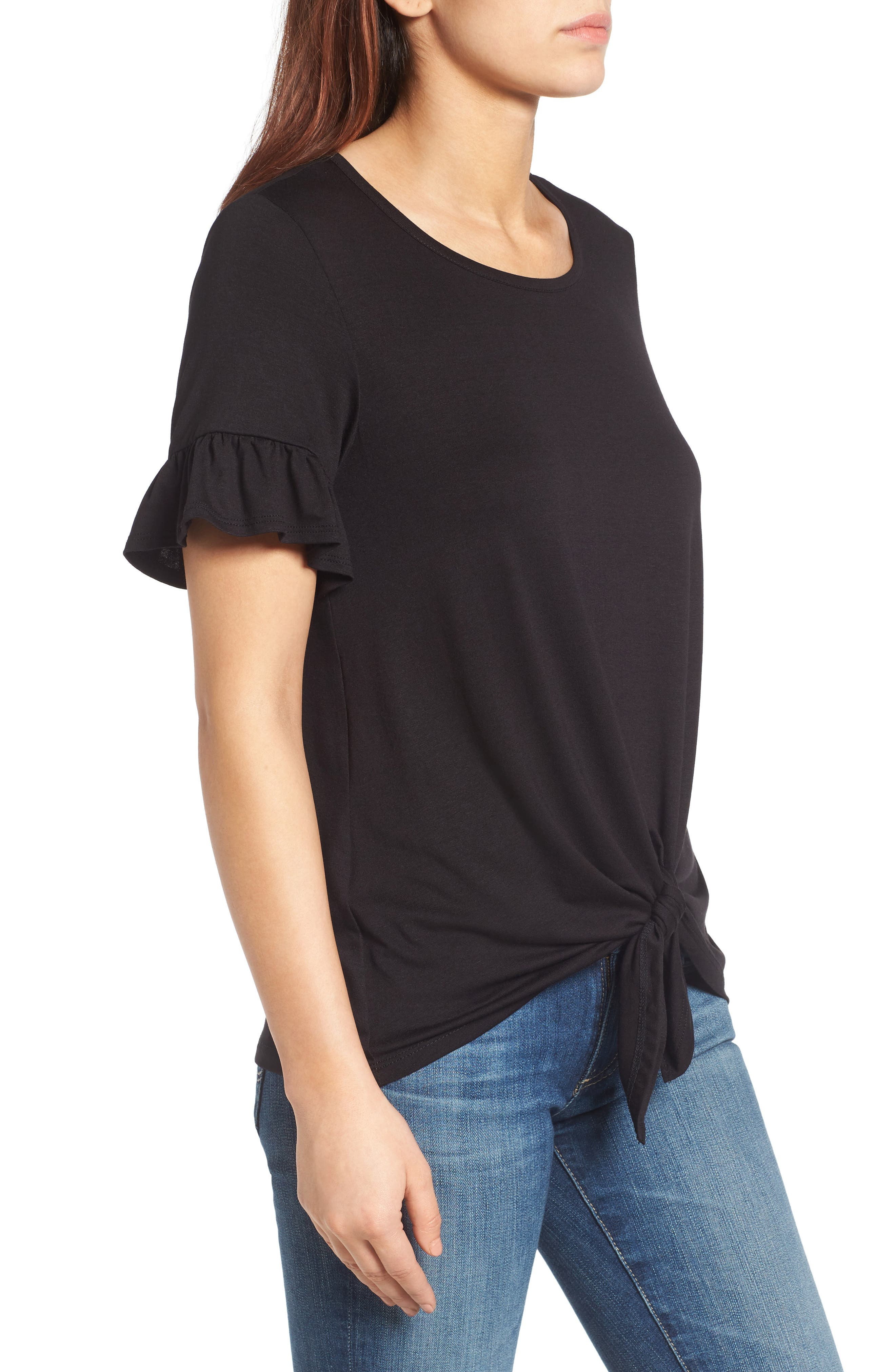 Bell Sleeve Tie Front Top,                             Alternate thumbnail 3, color,                             001