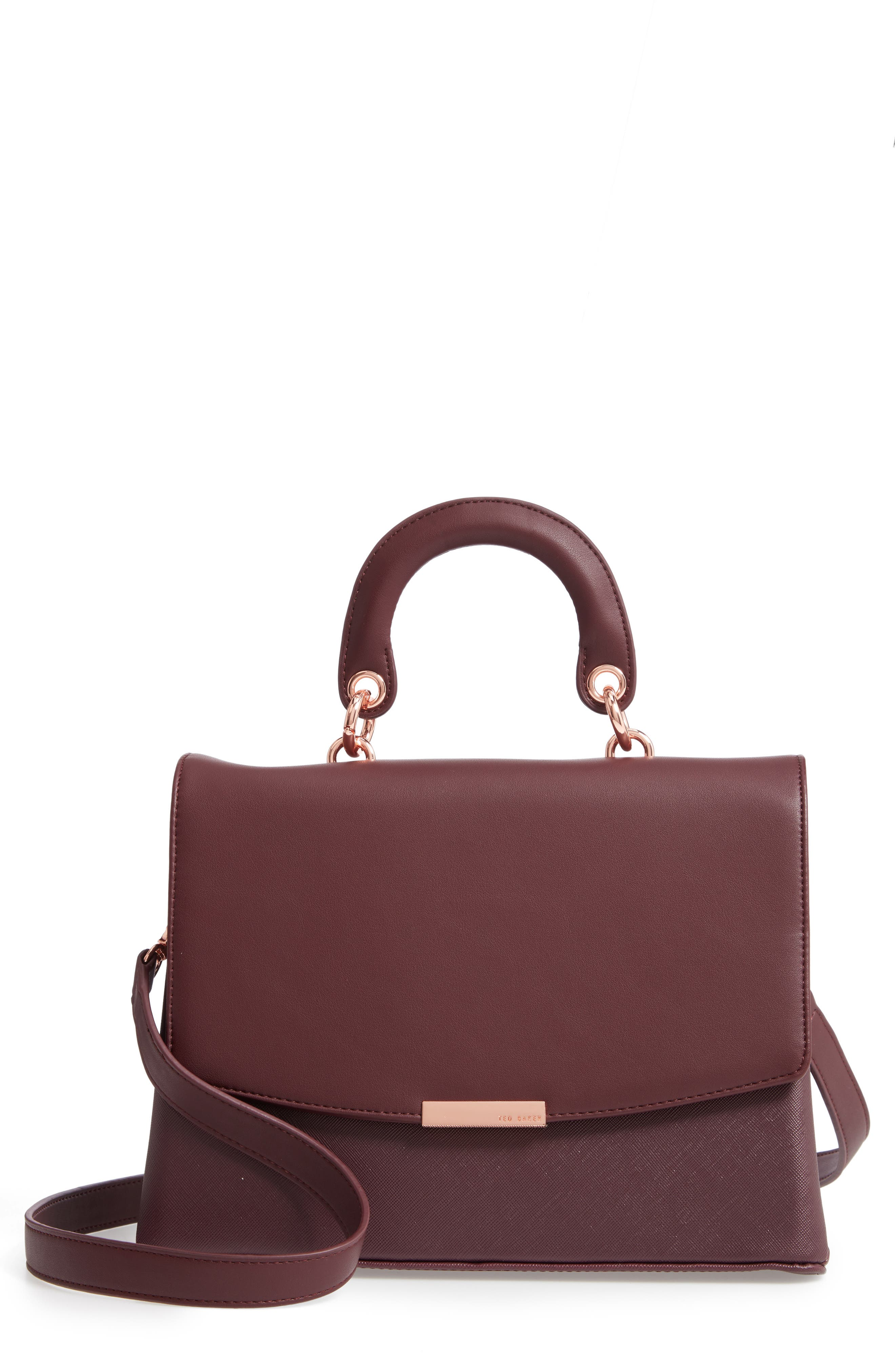 Keiira Lady Bag Faux Leather Top Handle Satchel,                             Main thumbnail 1, color,                             DEEP PURPLE
