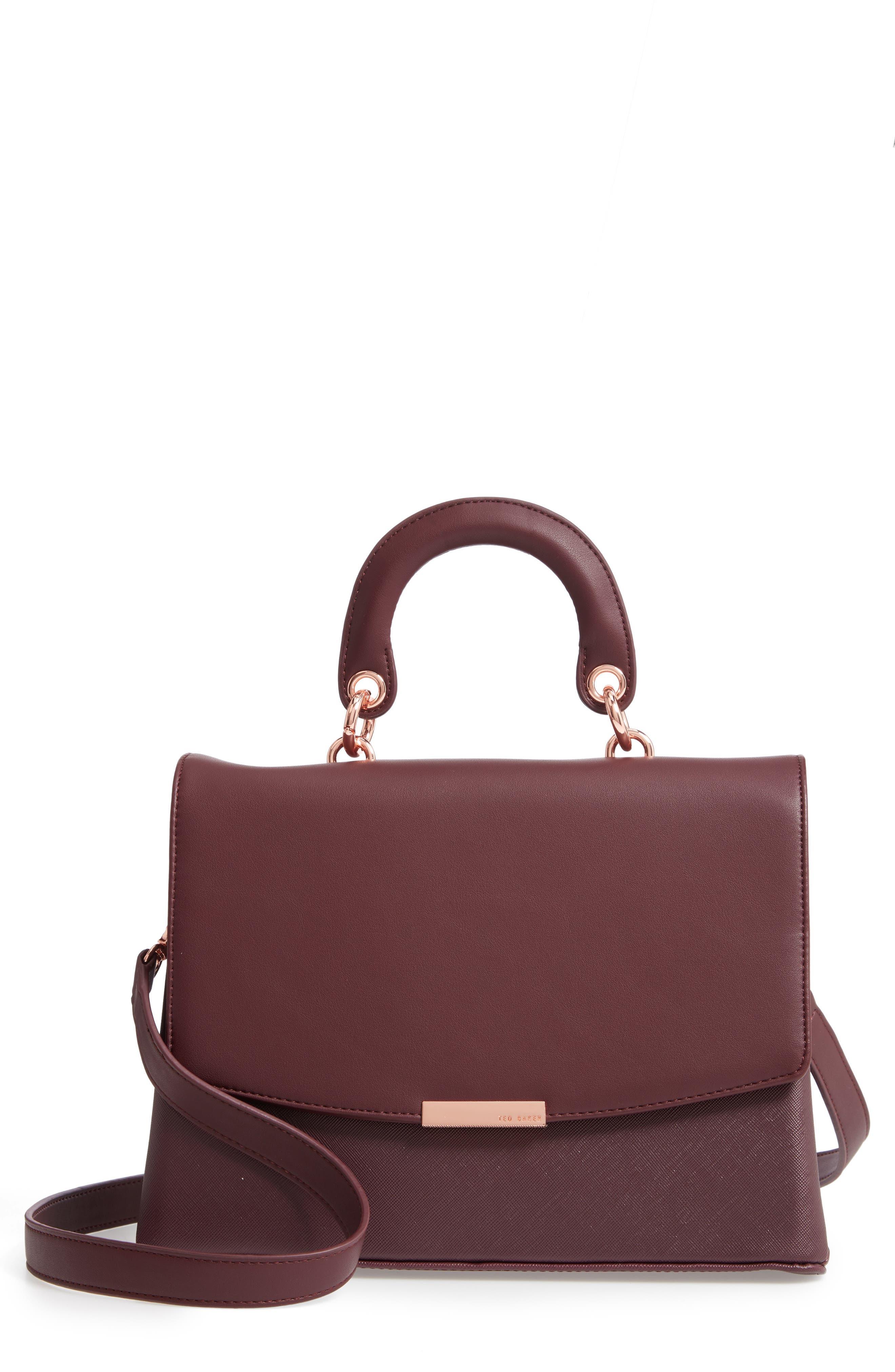 Keiira Lady Bag Faux Leather Top Handle Satchel,                         Main,                         color, DEEP PURPLE