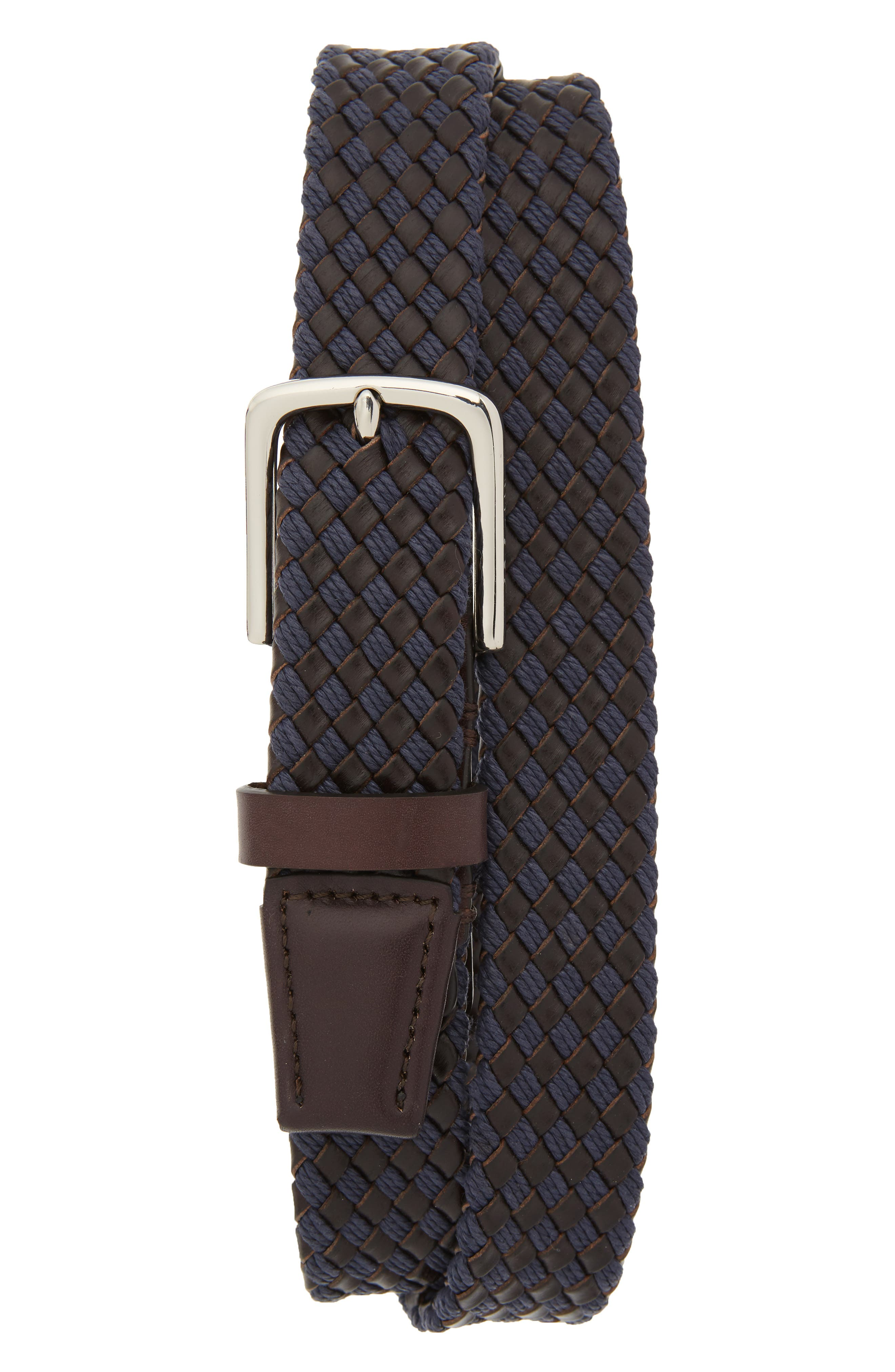 Cole Haan Braided Leather & Jute Belt, Navy/ Polished Nickel